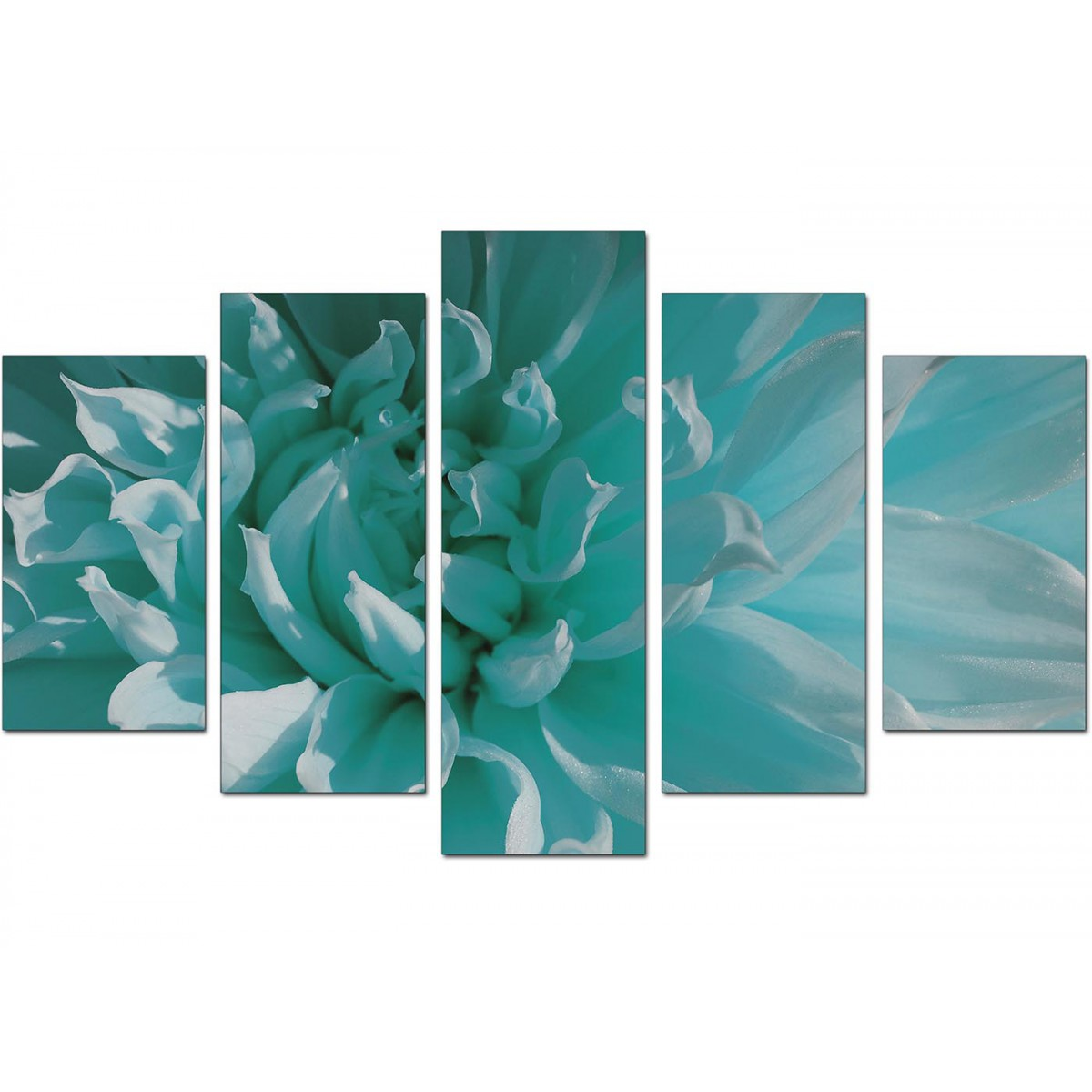 Extra Large Flower Canvas Wall Art 5 Piece In Teal