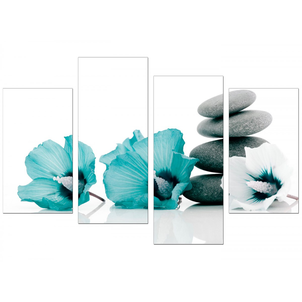 Items Similar To Teal Purple Abstract Flowers Wall Decor: Canvas Wall Art Of Flowers In Teal For Your Living Room