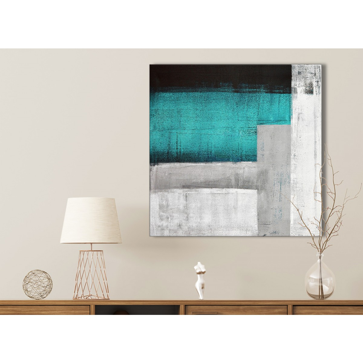 Teal Turquoise Grey Painting Bathroom Canvas Wall Art Accessories ...
