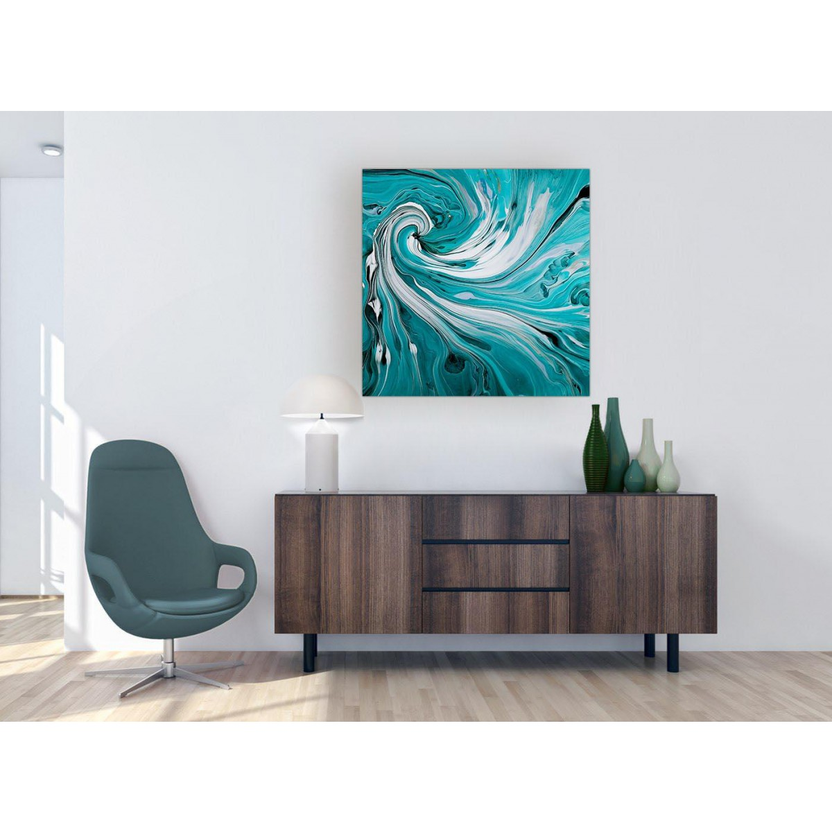 Extra Large Teal Spiral Swirl Abstract Canvas Modern