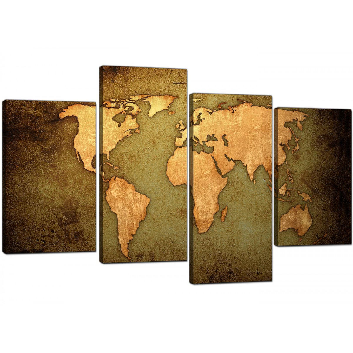 Canvas prints of a world map in green and brown for your living room overall size 130cm x 67cm gumiabroncs