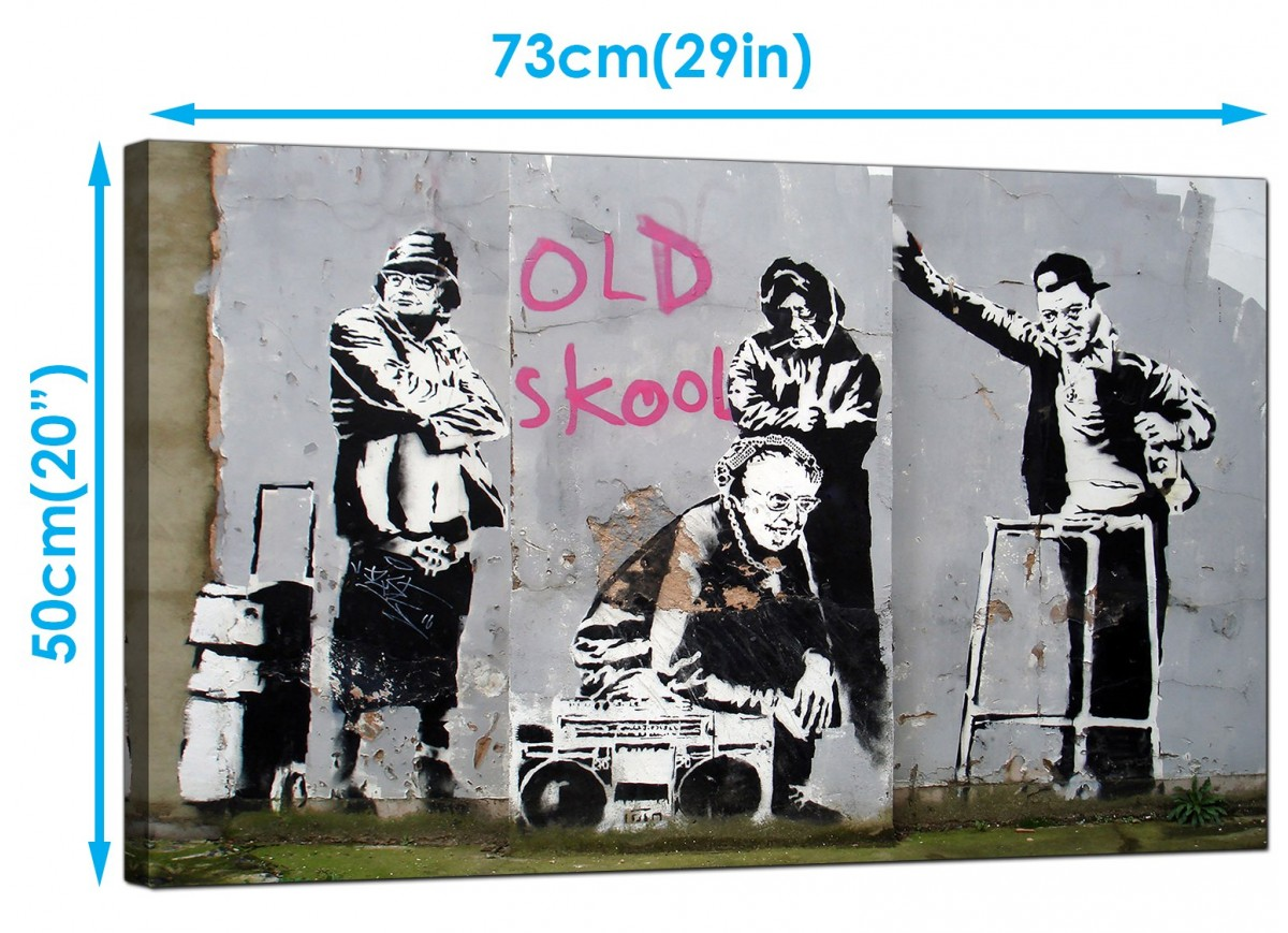 Banksy Canvas Pictures Old Skool School B Boy Grannies
