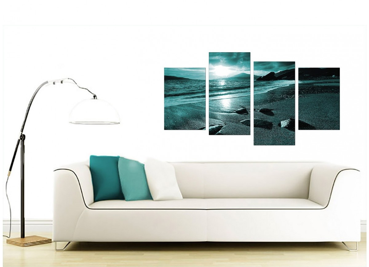 canvas living room canvas of sunset in teal for your living room 11238
