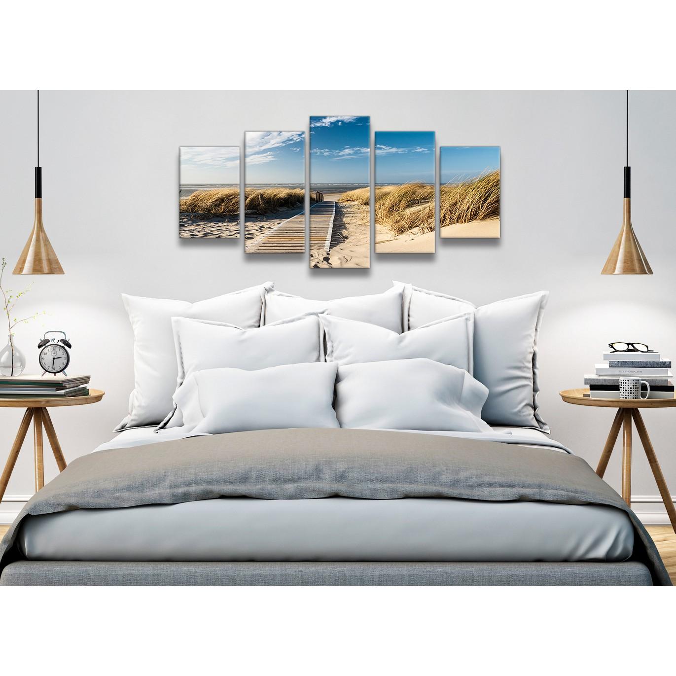 5 piece beach landscape canvas wall art pictures pathway to the ocean 5197 160cm xl set. Black Bedroom Furniture Sets. Home Design Ideas
