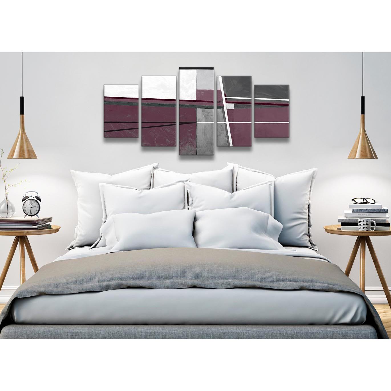 Plum Purple Grey Painting Kitchen Canvas Pictures: 5 Piece Plum Purple Grey Painting Abstract Dining Room