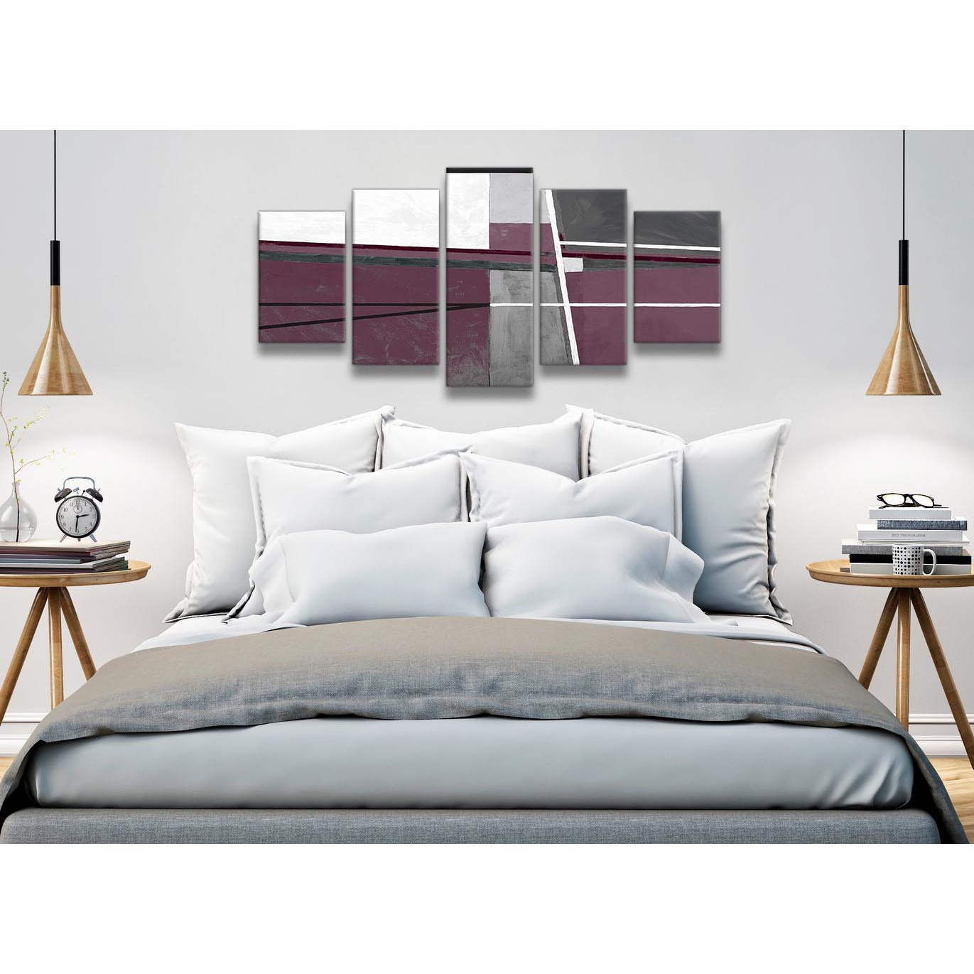 Bedroom Canvas Wall Art Uk: 5 Piece Plum Purple Grey Painting Abstract Dining Room