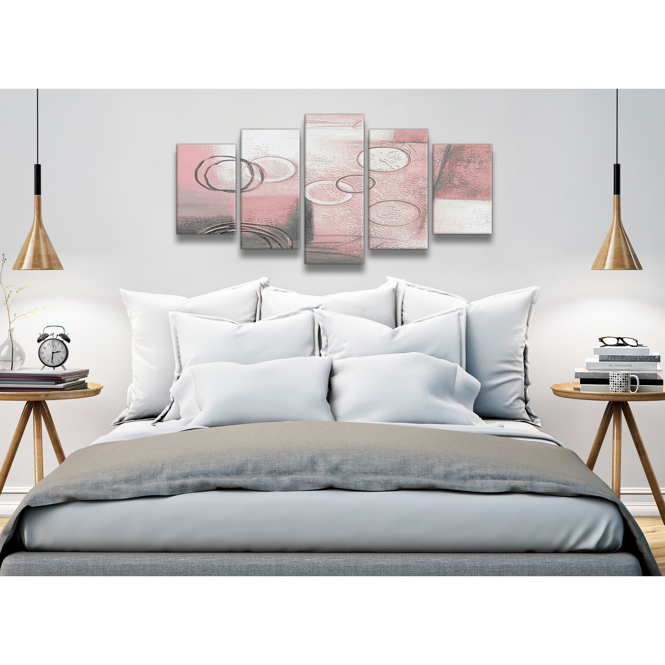 office canvas art. Display Gallery Item 1; 5 Piece Blush Pink Grey Painting Abstract Office Canvas Wall Art Decor - 5433 160cm 2