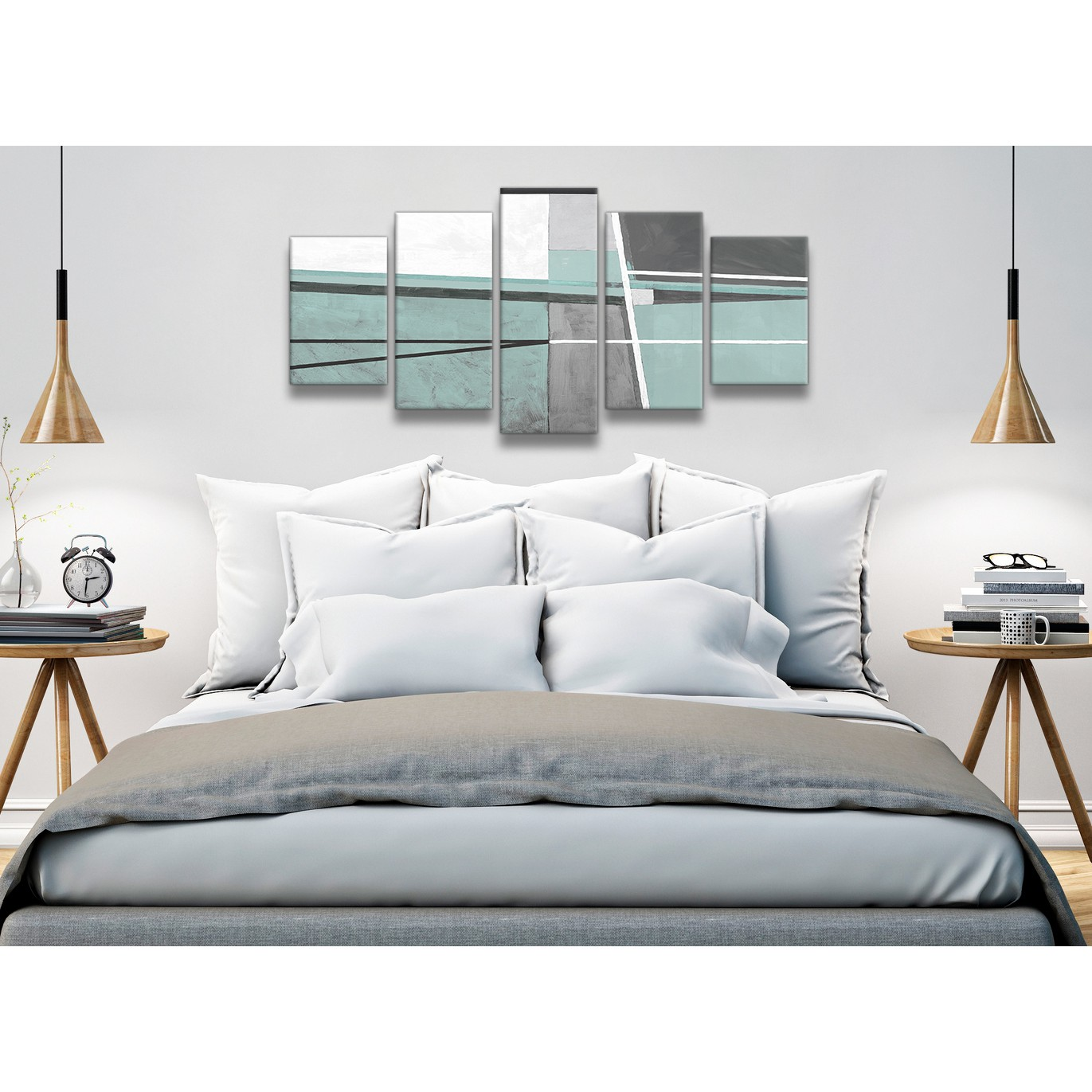 5 Piece Duck Egg Blue Grey Painting Abstract Dining Room Canvas Wall