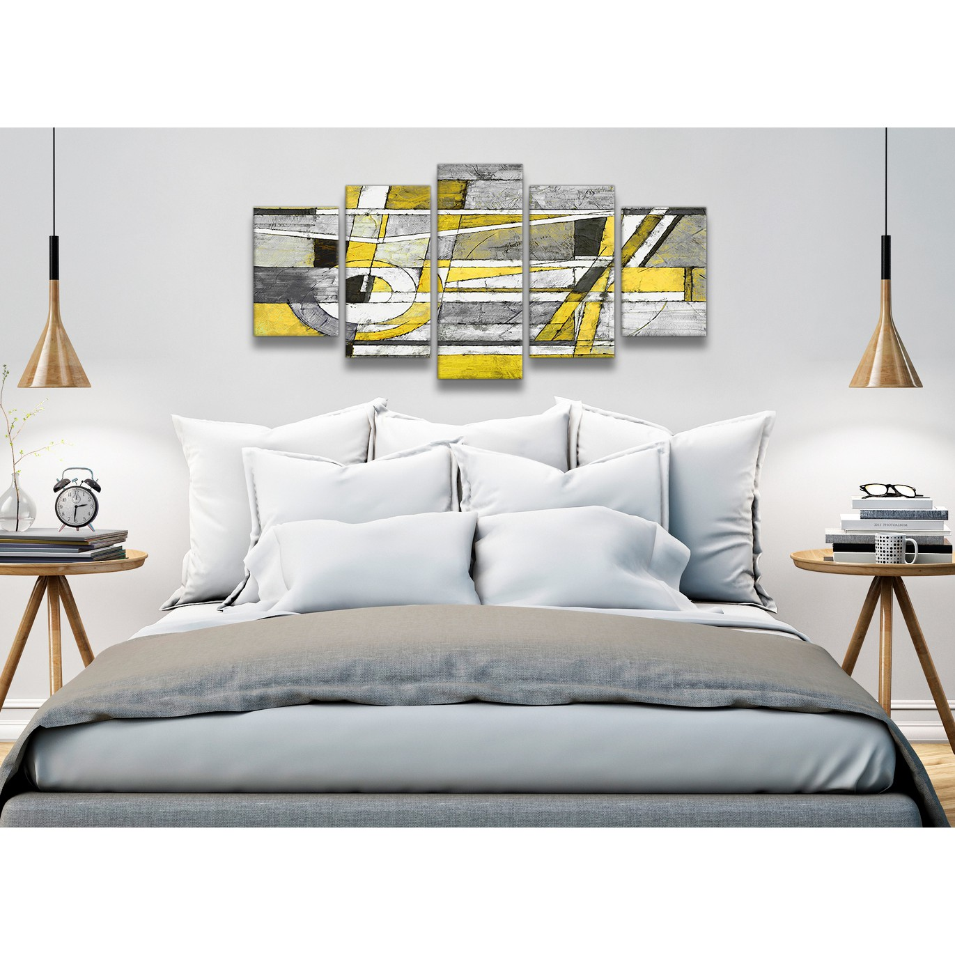 Display gallery item 1 5 panel yellow grey painting abstract dining room canvas wall art decorations 5400 160cm display gallery item 2
