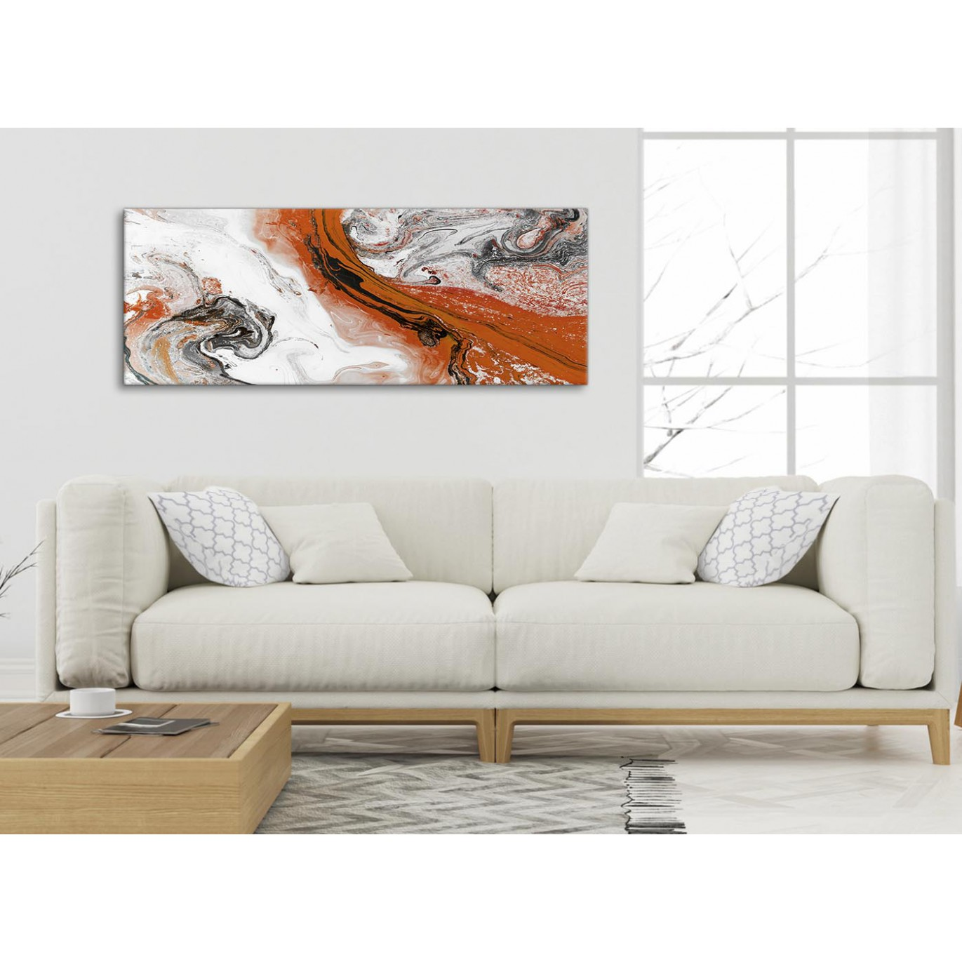 Orange And Grey Swirl Living Room Canvas Wall Art Accessories Abstract Print