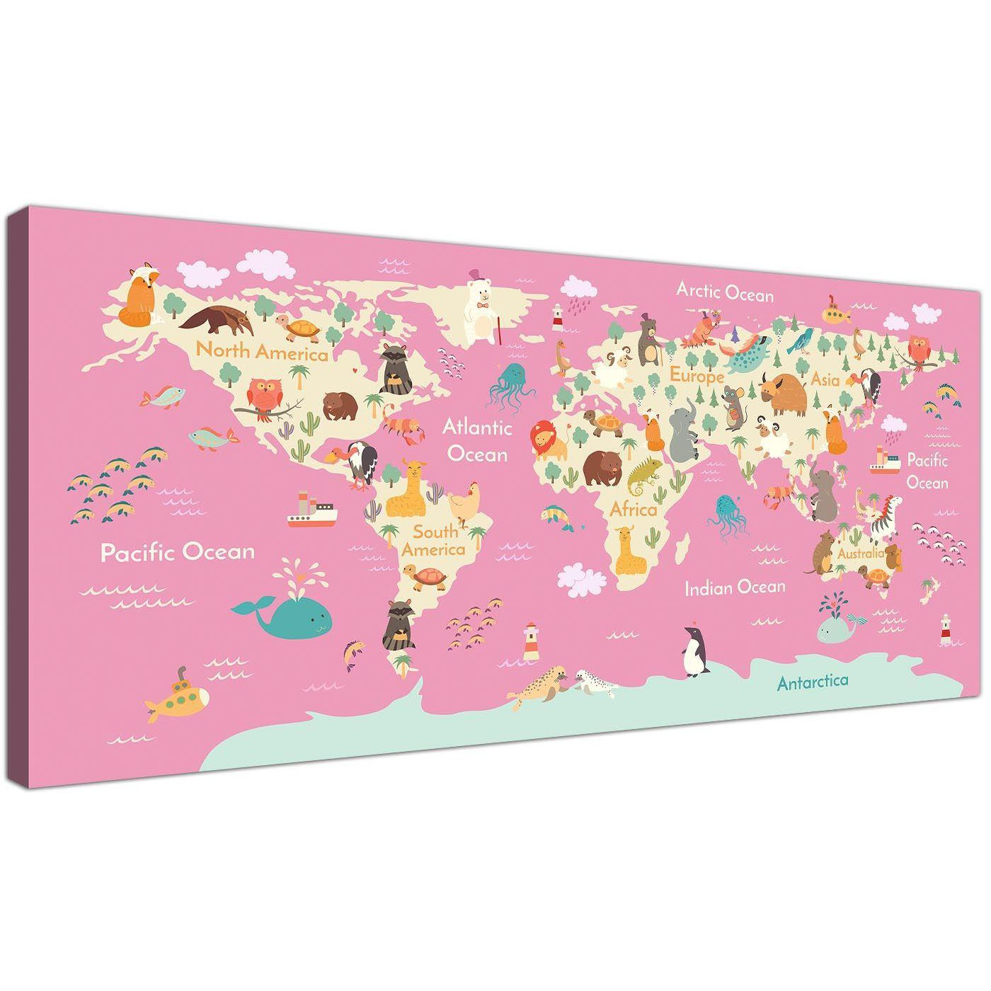 Animal Map of World Canvas Art for Childrens Bedroom - Educational on