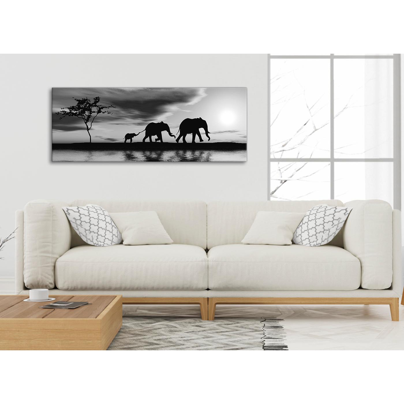 Black White African Sunset Elephants Canvas Wall Art Print - Modern ...