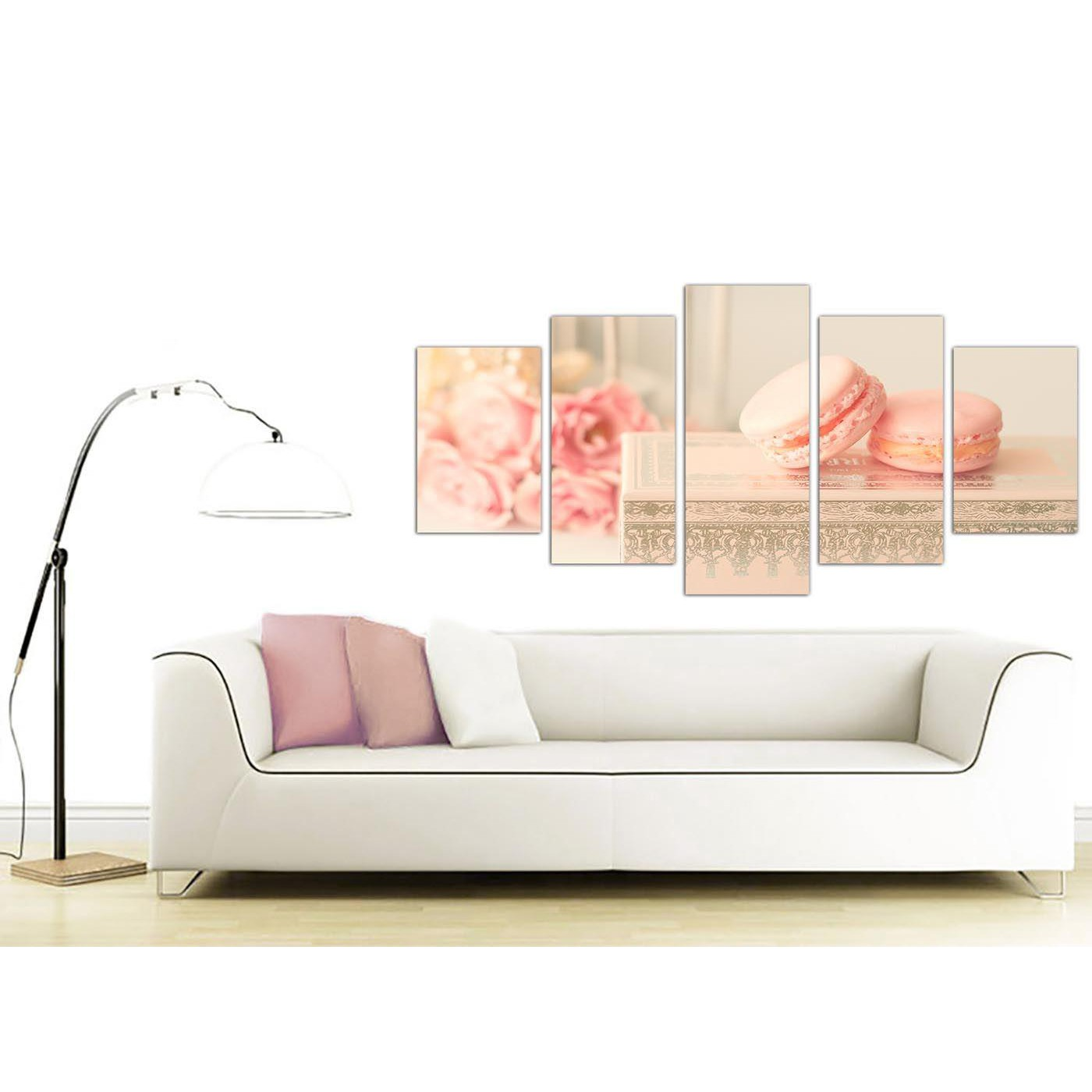 3 Piece Purple Cherry Blossom Muti Panel Abstract Modern: Extra Large Pink Cream French Shabby Chic Bedroom Canvas