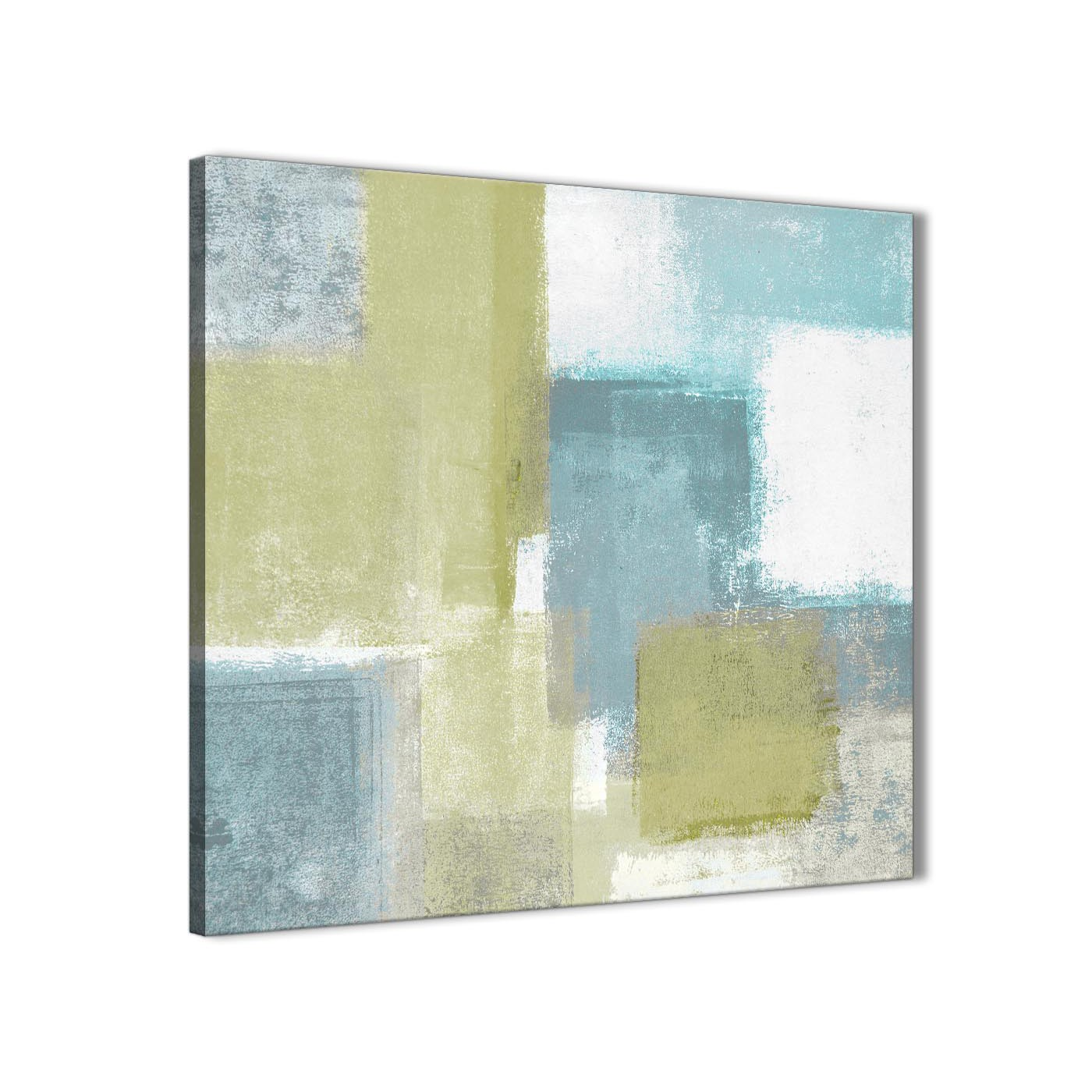 Oversized lime green teal abstract painting canvas wall art print modern 79cm square for your kitchen display gallery item 1