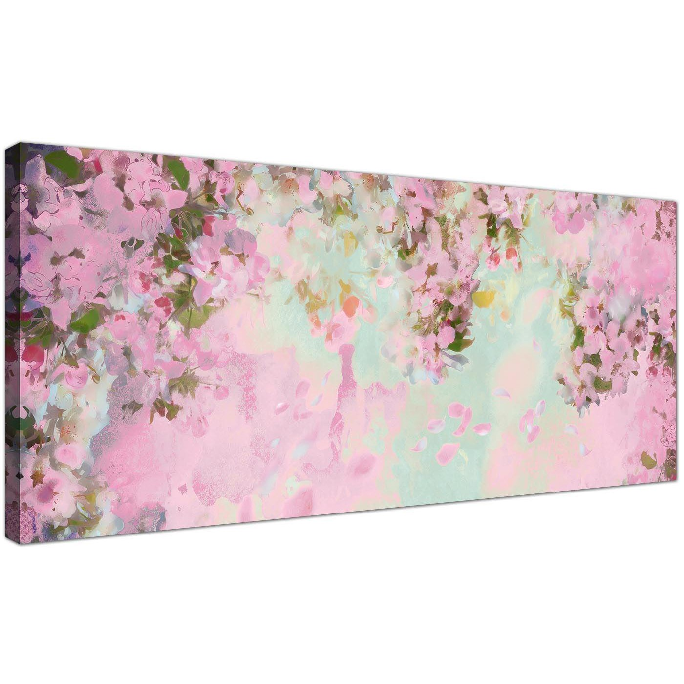Shabby Chic Pale Dusky Pink Flowers Flowers Canvas Modern 120cm Wide