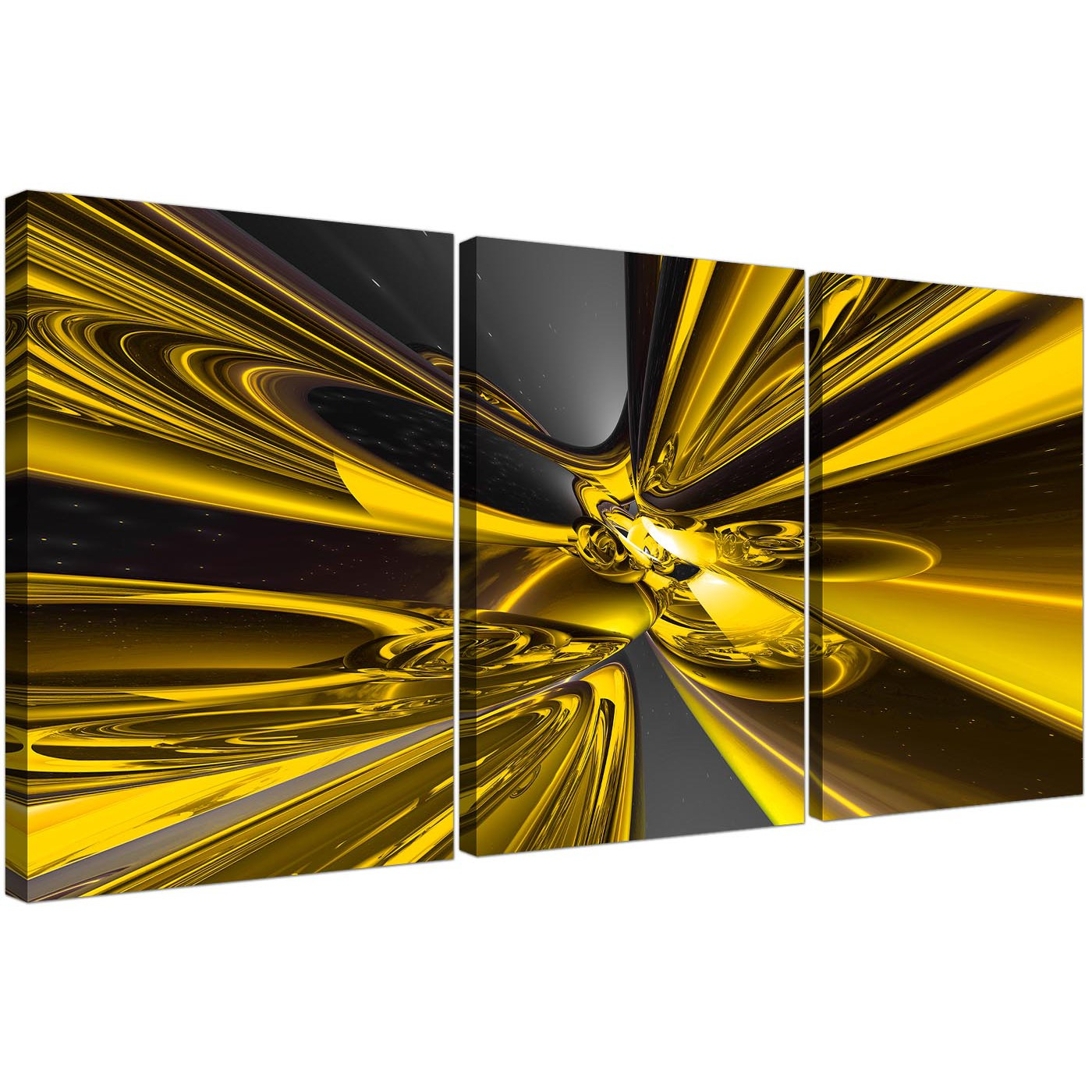 Set of Three Abstract Canvas Art in Yellow and Black