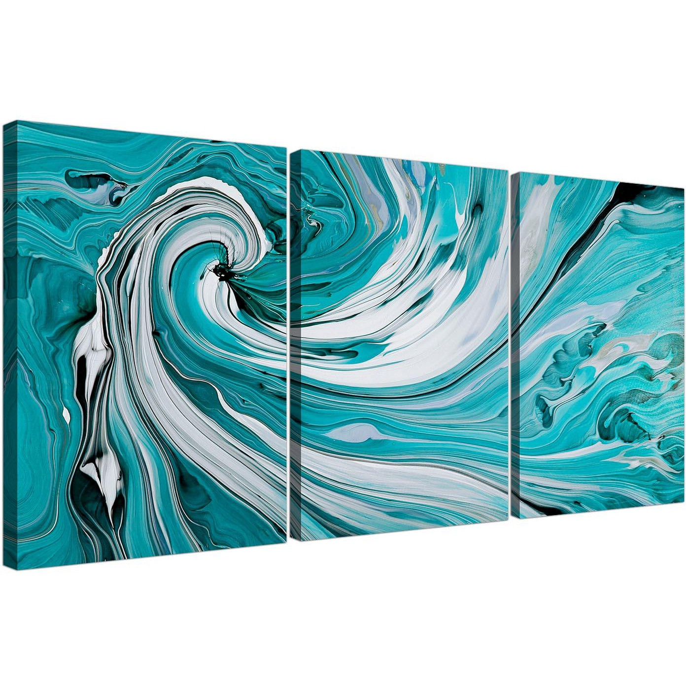 teal and white spiral swirl abstract canvas split 3 panel 125cm wide. Black Bedroom Furniture Sets. Home Design Ideas