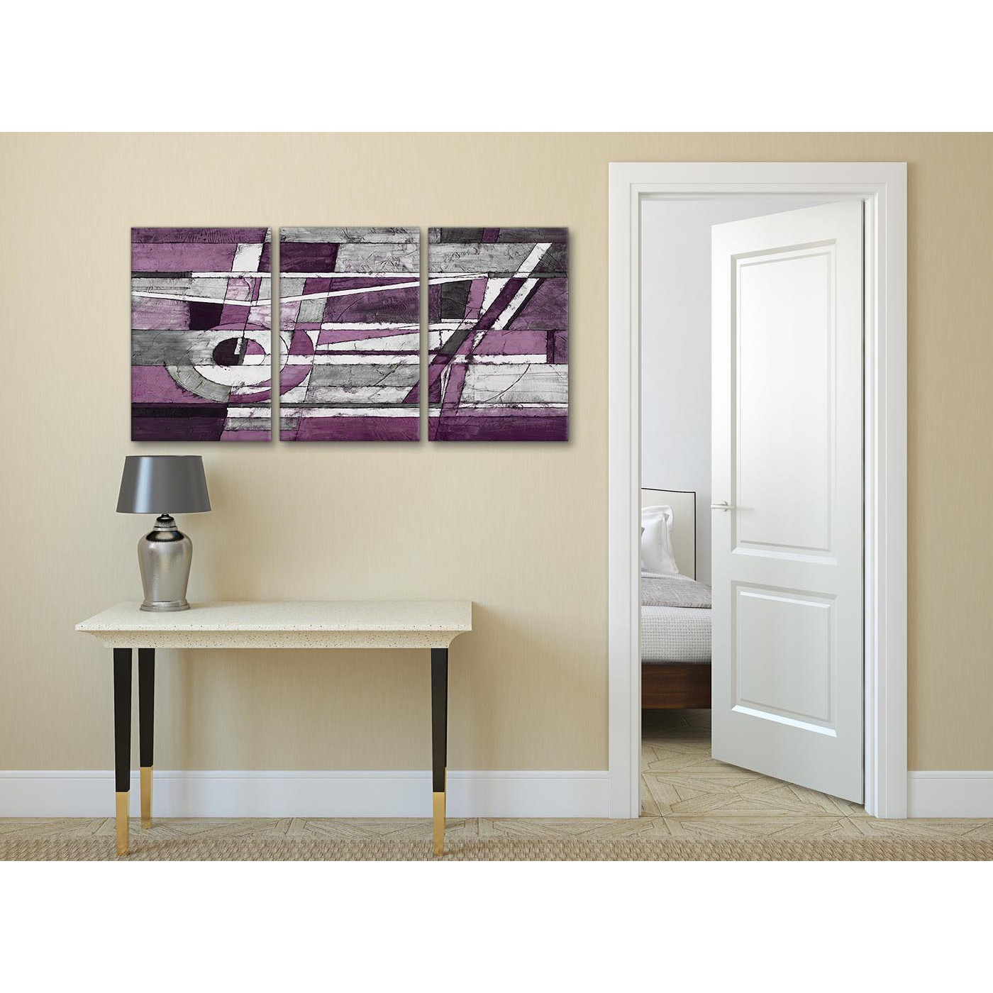 Purple Eggplant Aubergine Kitchen Wall Decor Poster: 3 Panel Aubergine Grey White Painting Dining Room Canvas
