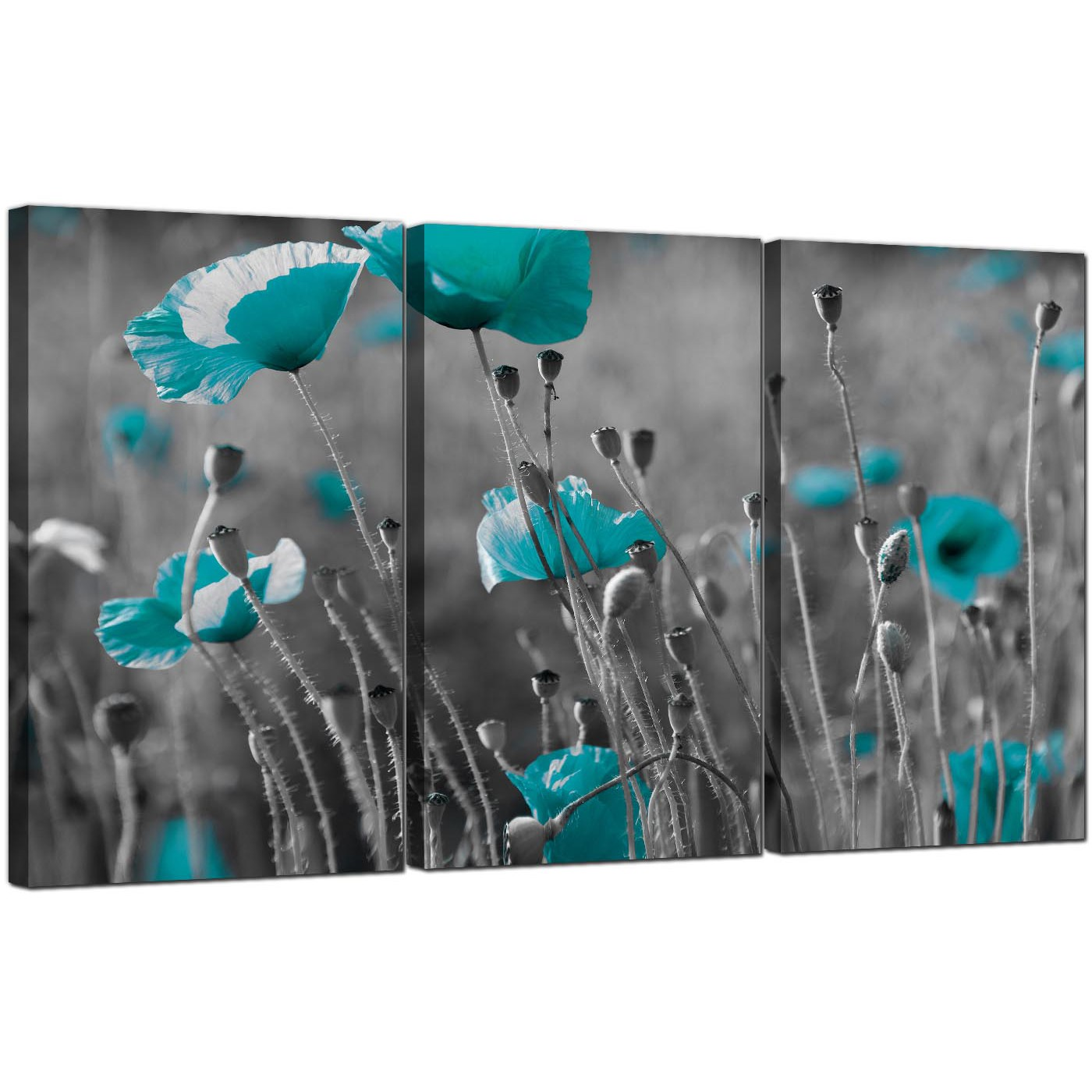 Best Teal Poppy Canvas Wall Art Set of 3 for your Dining Room AL08