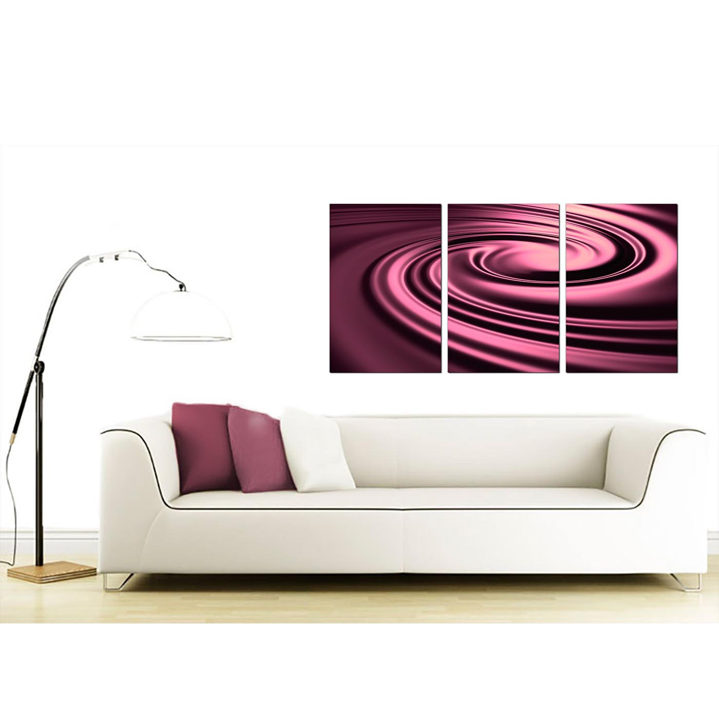 cheap abstract canvas wall art 3 part in plum