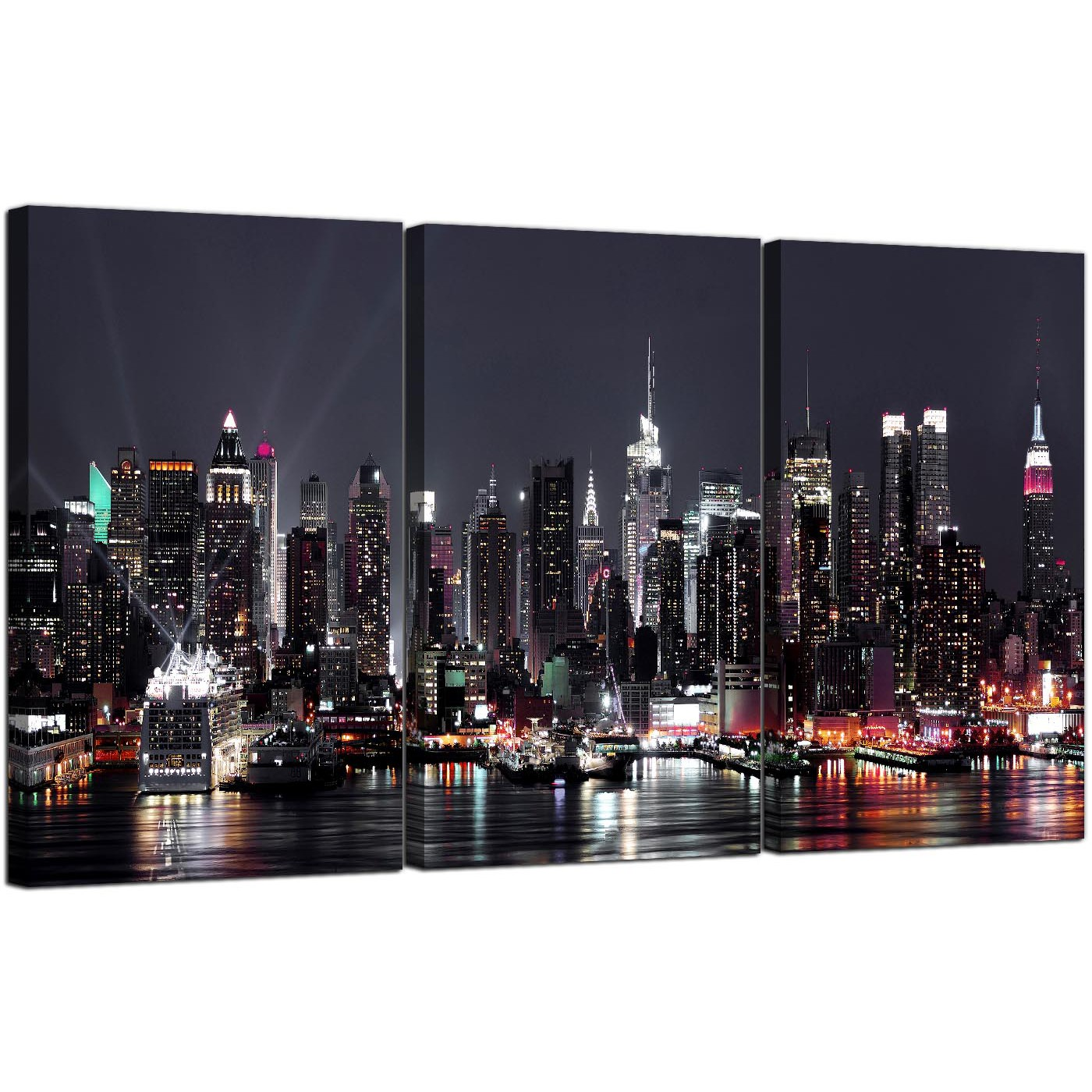 High Lights Of New York Skyline Canvas Wall Art: Large New York Skyline Canvas Pictures Set Of 3 For Your