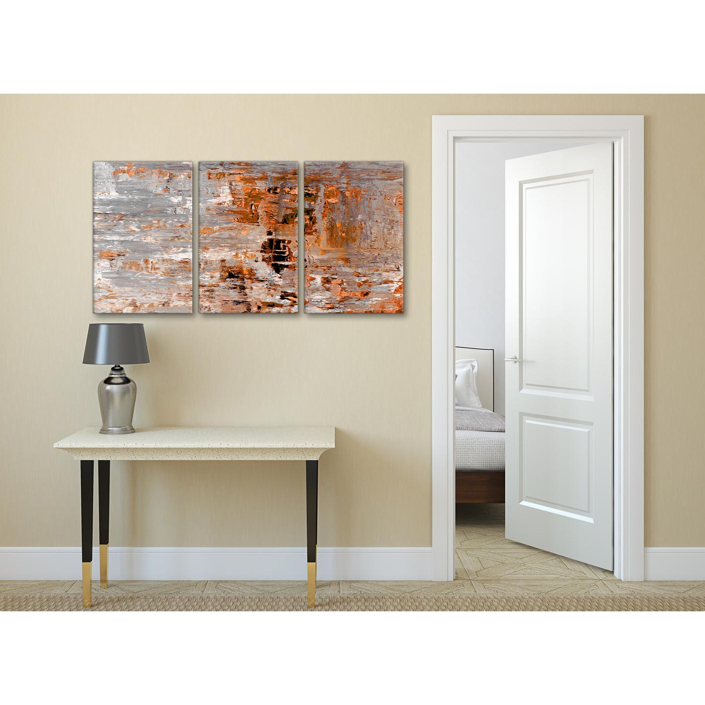 Burnt Orange Wall Paint Dining Room Contemporary With Aqua: 3 Panel Burnt Orange Grey Painting Dining Room Canvas Wall