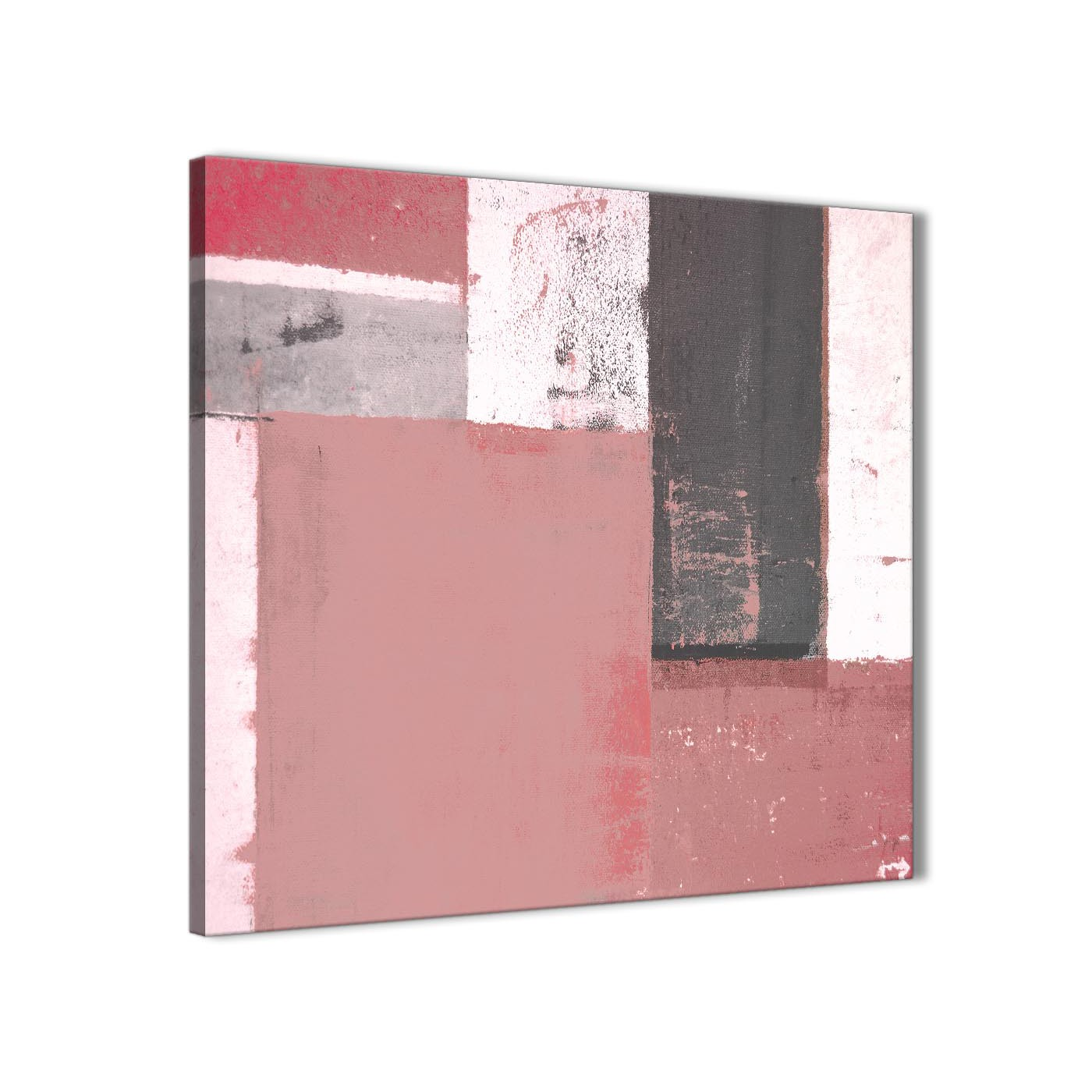 Blush pink grey abstract painting canvas wall art print modern 64cm square 1s334m