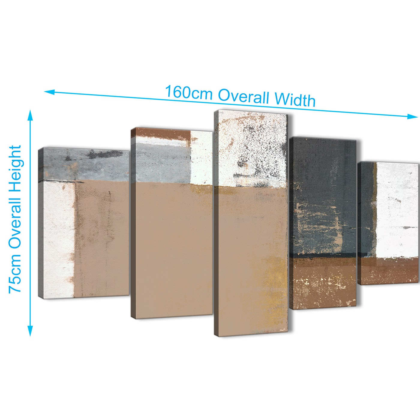 Display Gallery Item 2; Panoramic Extra Large Brown Beige Grey Abstract  Painting Wall Art Print Canvas Multi 5 Panel 160cm Display Gallery Item 3  ...