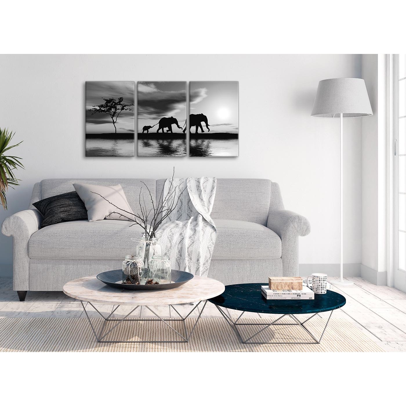Black White African Sunset Elephants Canvas Wall Art Print - Split 3 ...