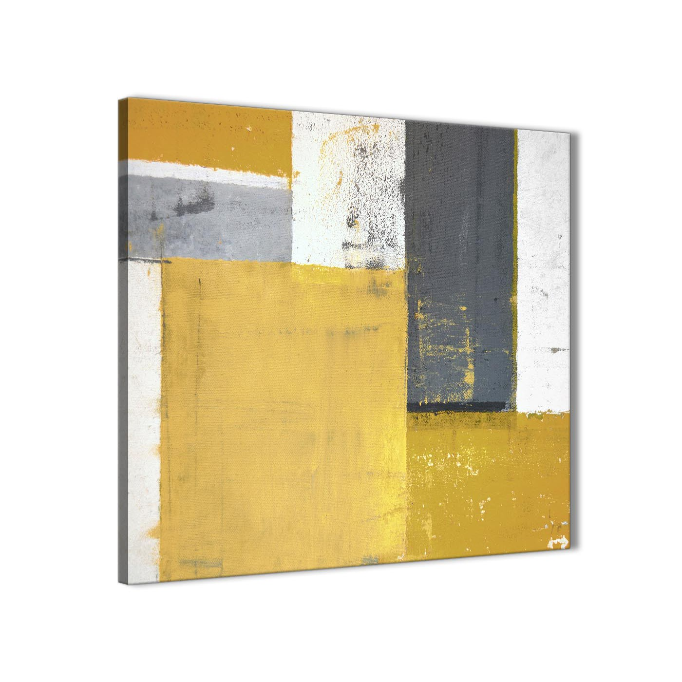 Mustard Yellow Grey Abstract Painting Canvas Wall Art Print - Modern ...
