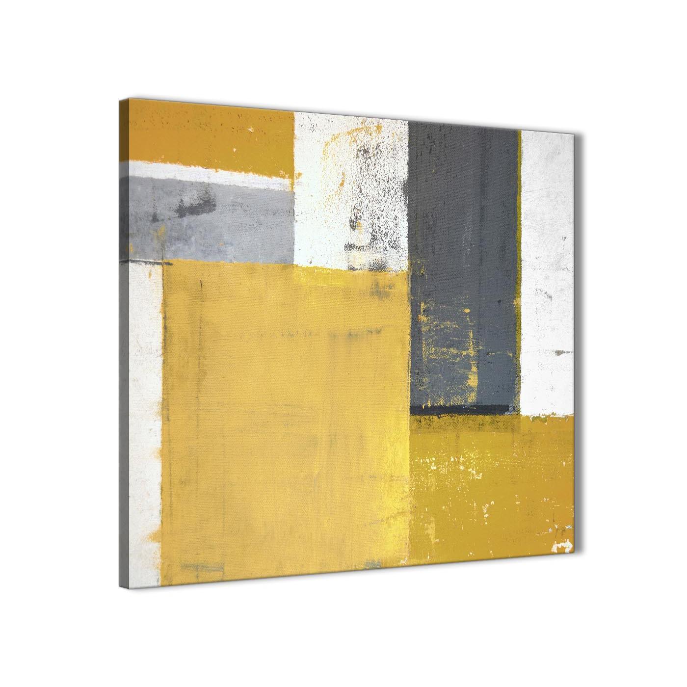 Mustard Yellow Grey Abstract Painting Canvas Wall Art Print - Modern ...