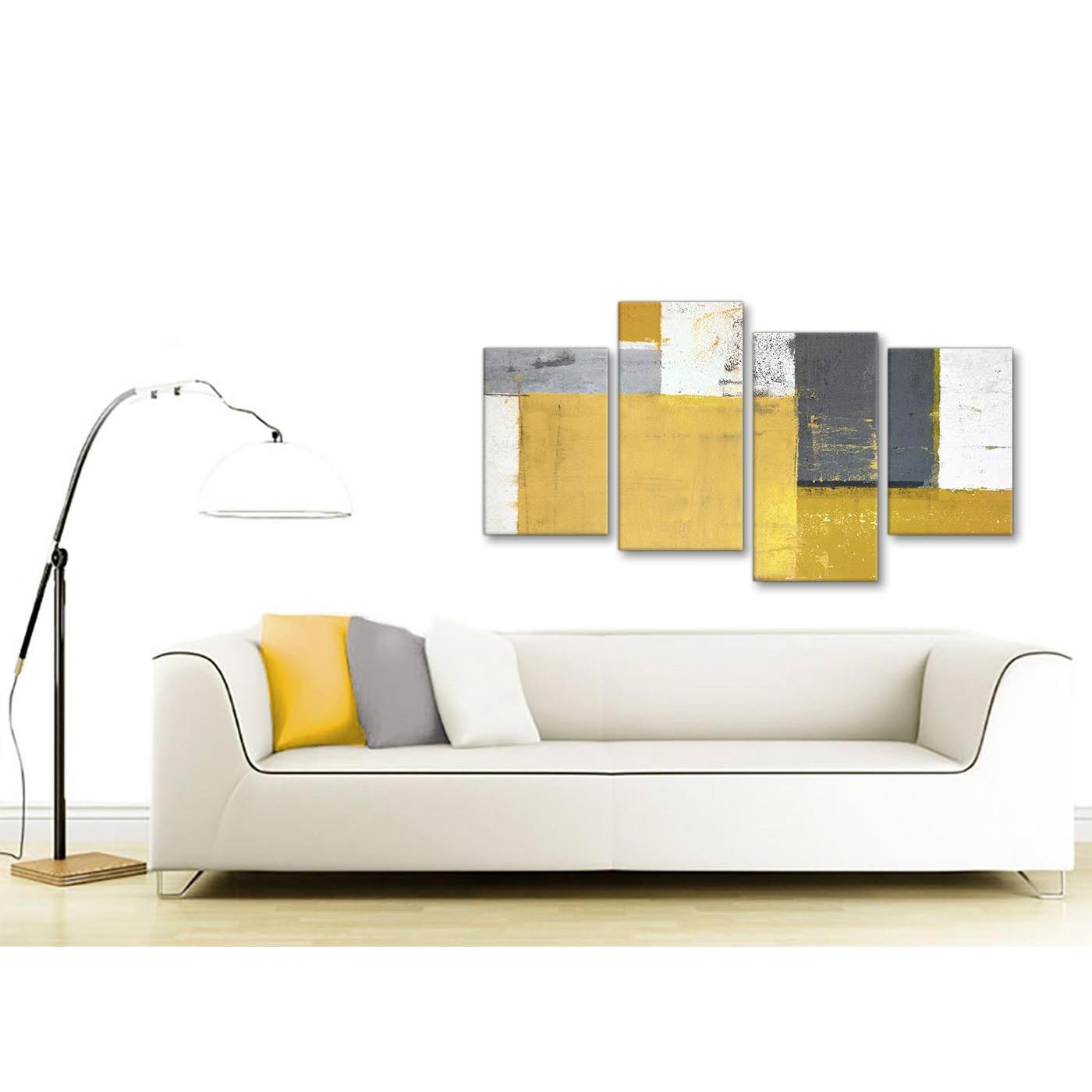 Large Mustard Yellow Grey Abstract Painting Canvas Wall Art Print ...