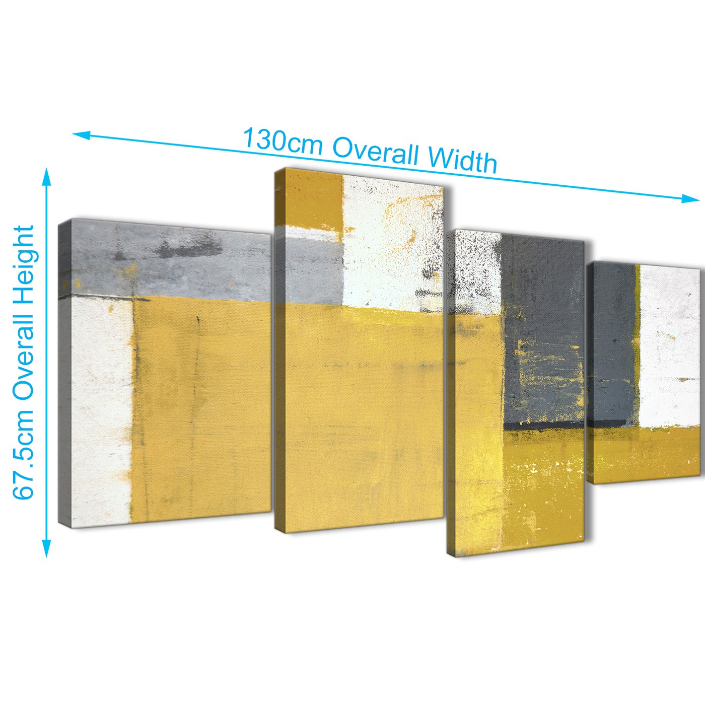 Large Mustard Yellow Grey Abstract Painting Canvas Wall Art Print ...