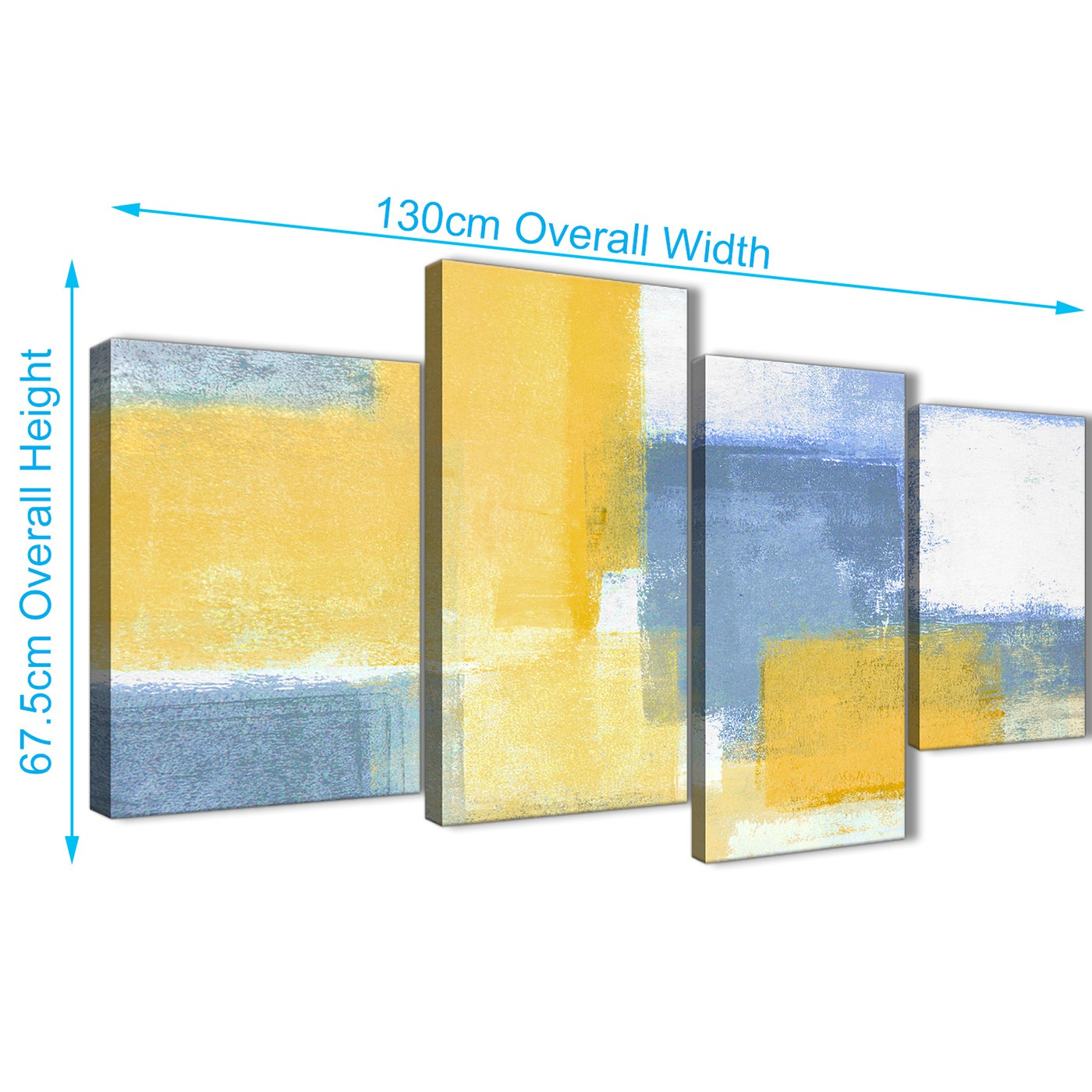 Large Mustard Yellow Blue Abstract Living Room Canvas