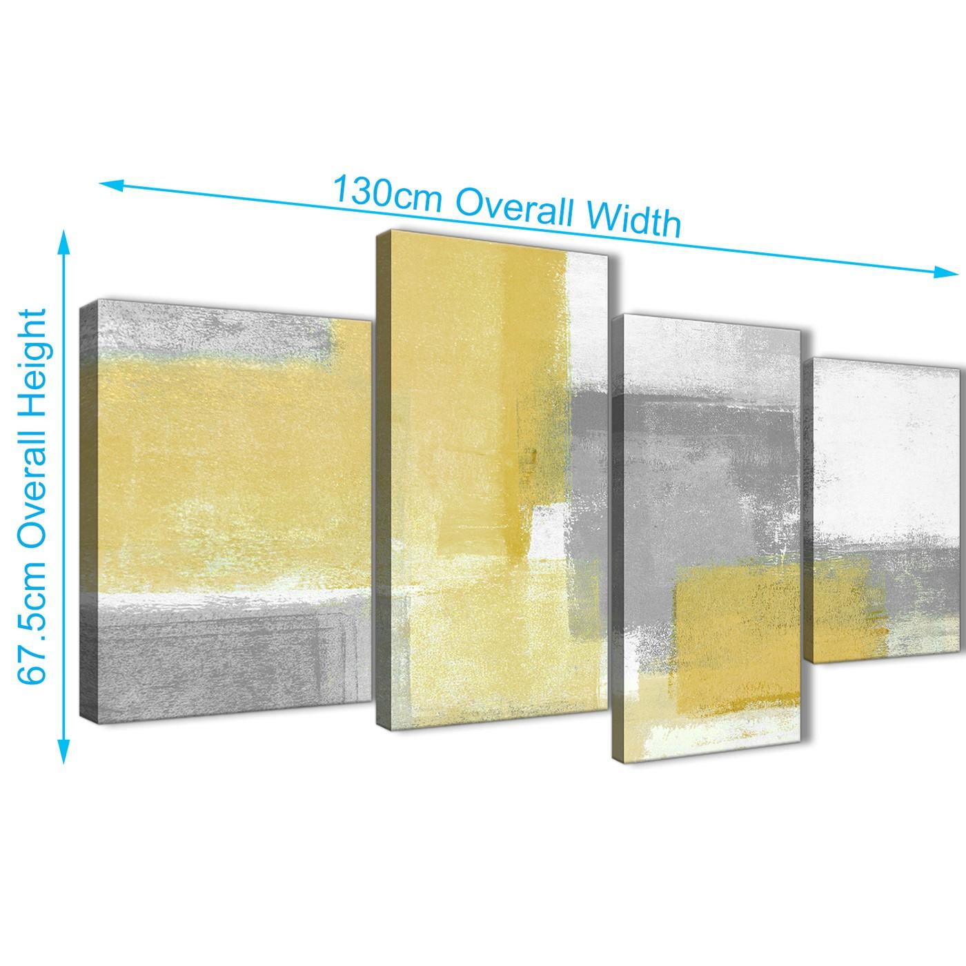 Large Mustard Yellow Grey Abstract Living Room Canvas Wall Art Decor ...