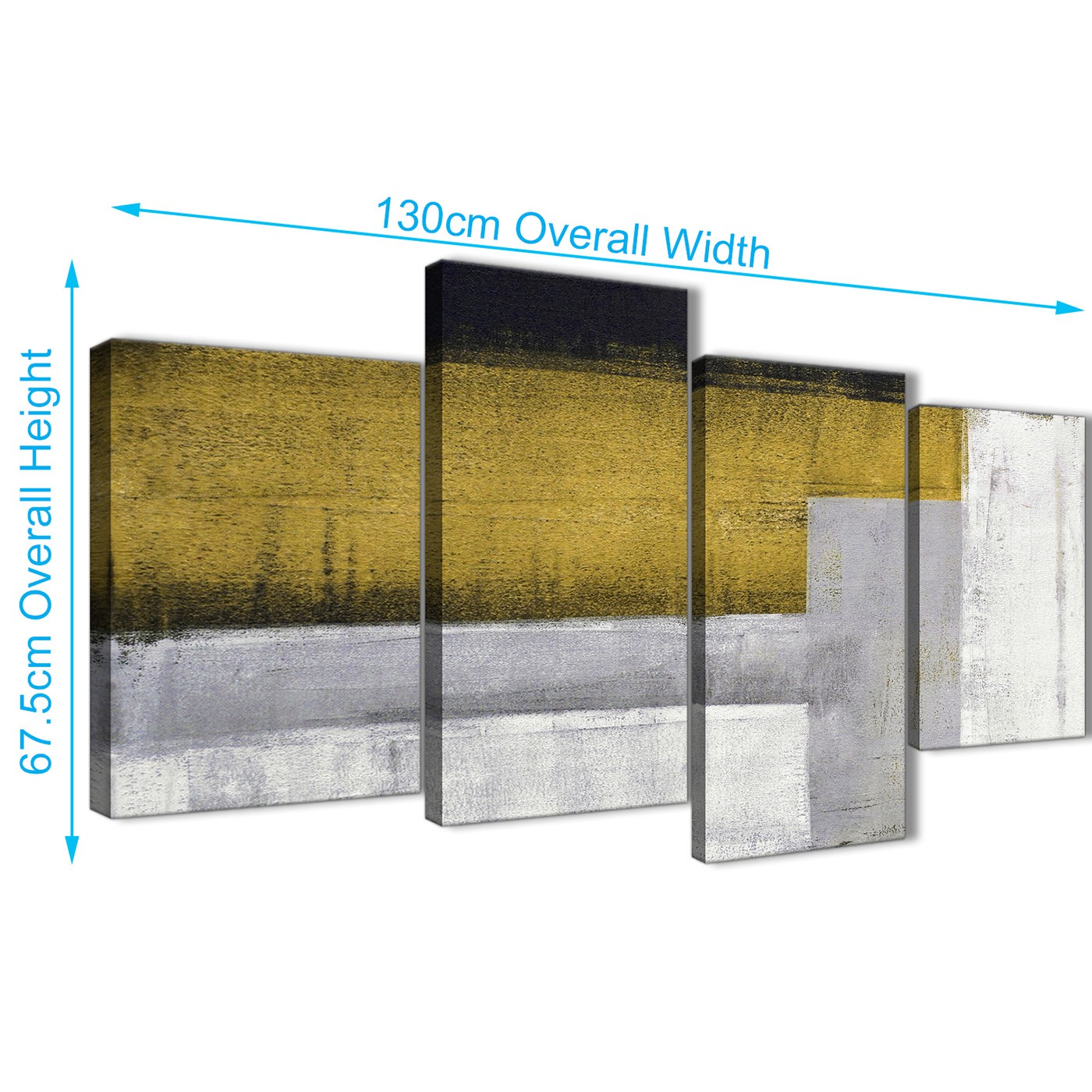 Large Mustard Yellow Grey Painting Abstract Bedroom Canvas Pictures ...