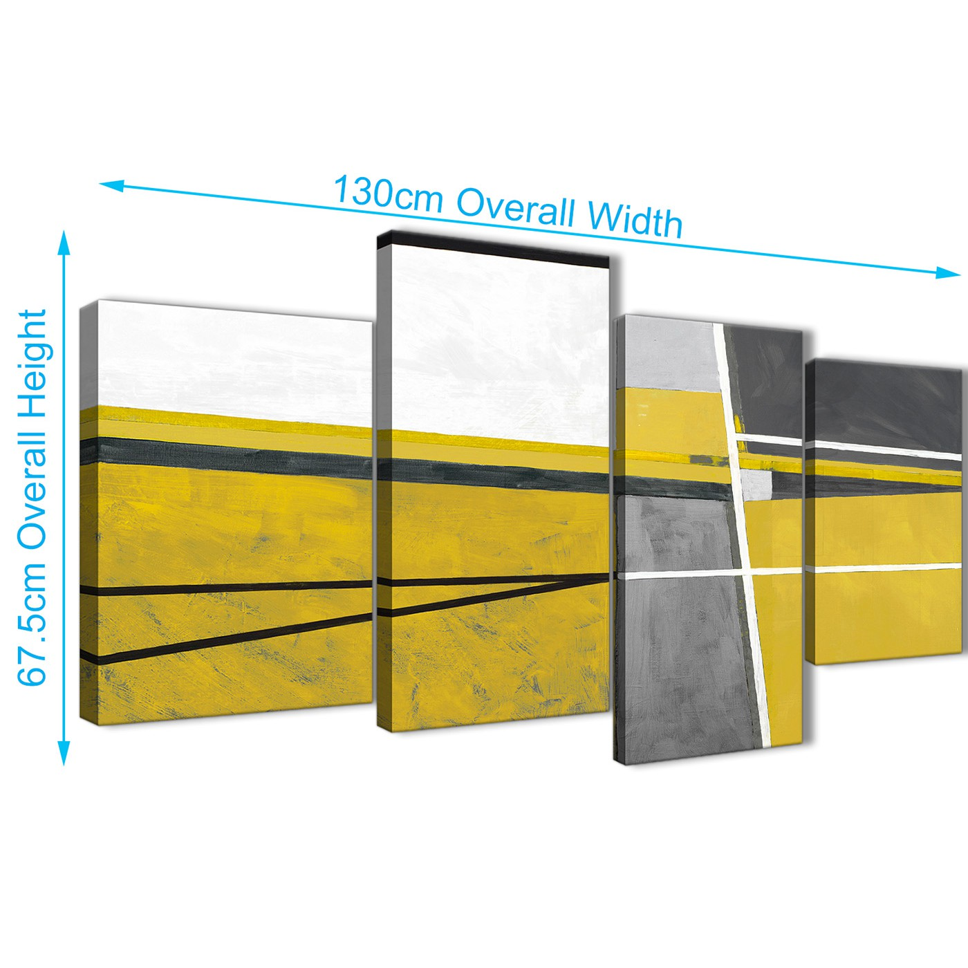 Large Mustard Yellow Grey Painting Abstract Living Room