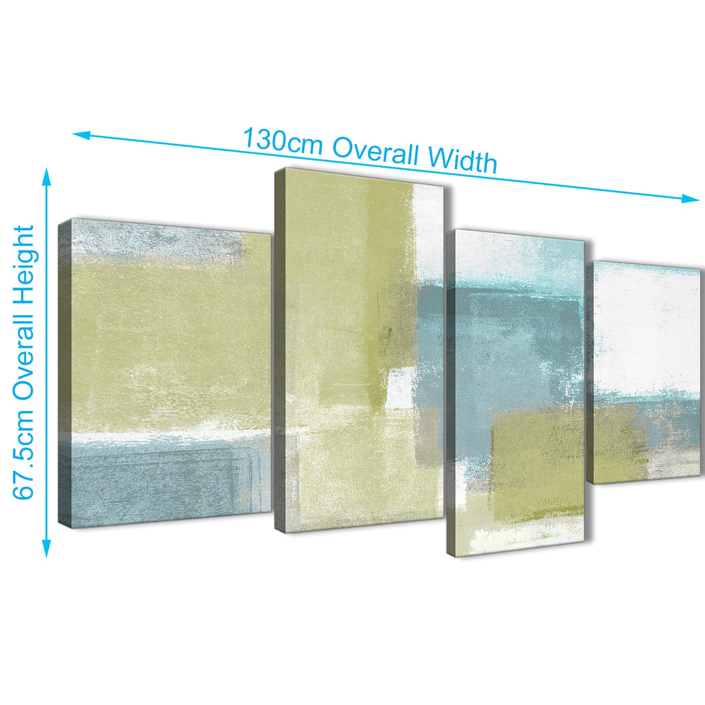 Large Lime Green Teal Abstract Painting Canvas Wall Art Print ...