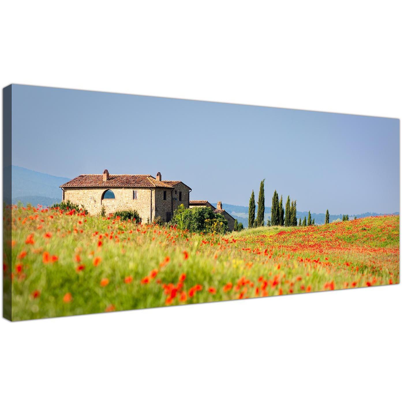 Red Tuscany Poppies Canvas Wall Art - Italian Scenes Canvas Print