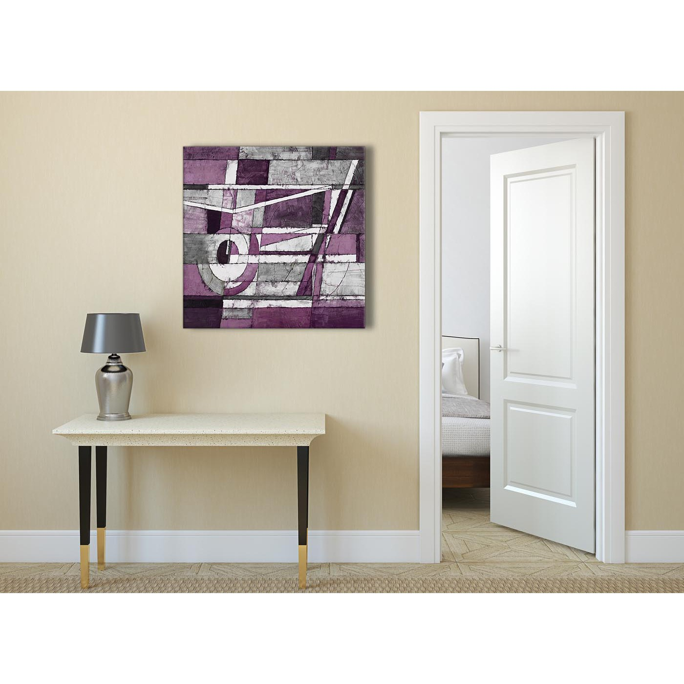 Display Gallery Item 1; Aubergine Grey White Painting Abstract Dining Room  Canvas Pictures Decorations 1s406l   79cm Square Print Display Gallery Item  2 ...