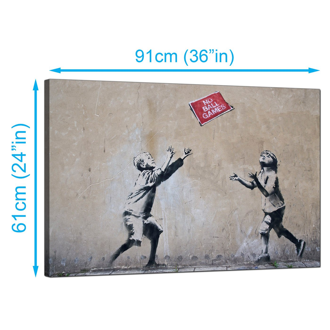 Display gallery item 2 · banksy canvas prints uk children playing with no ball games sign graffiti art display gallery item 3