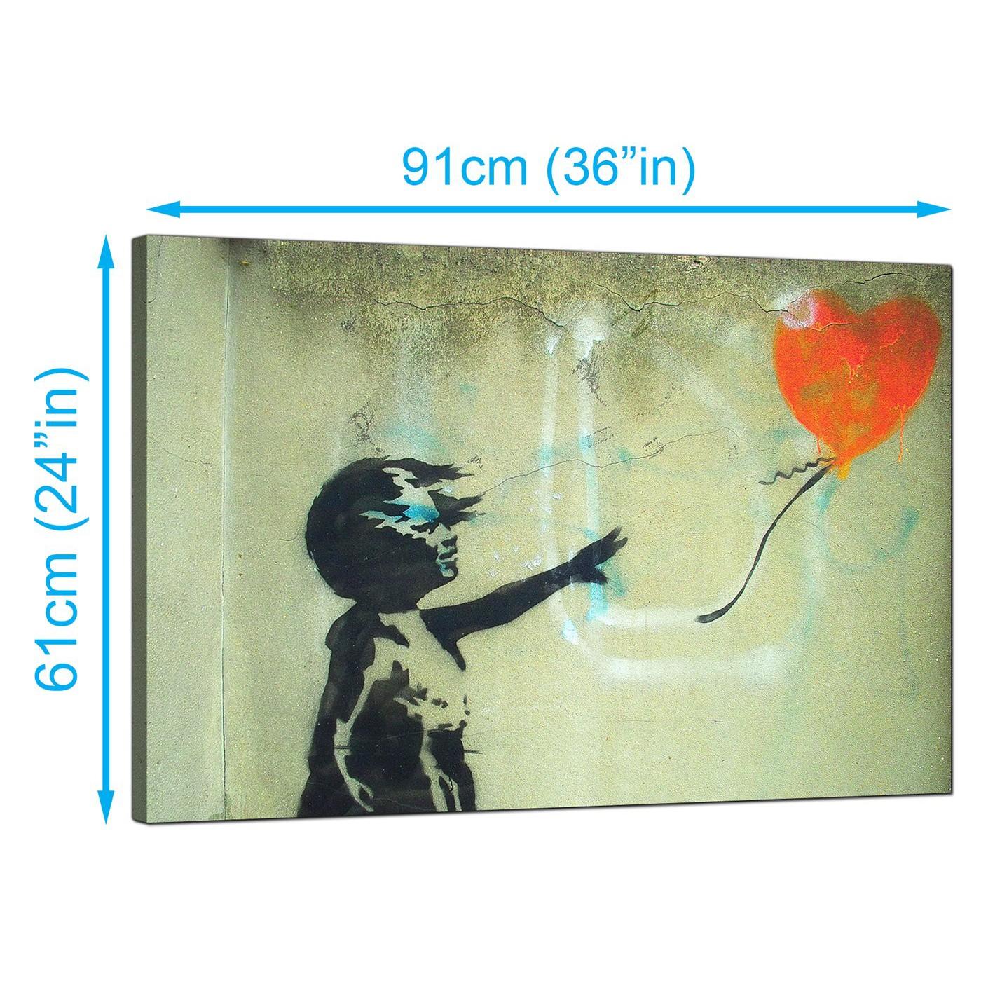 Display gallery item 3 · banksy canvas prints uk girl child and a heart balloon graffiti art display gallery item 4