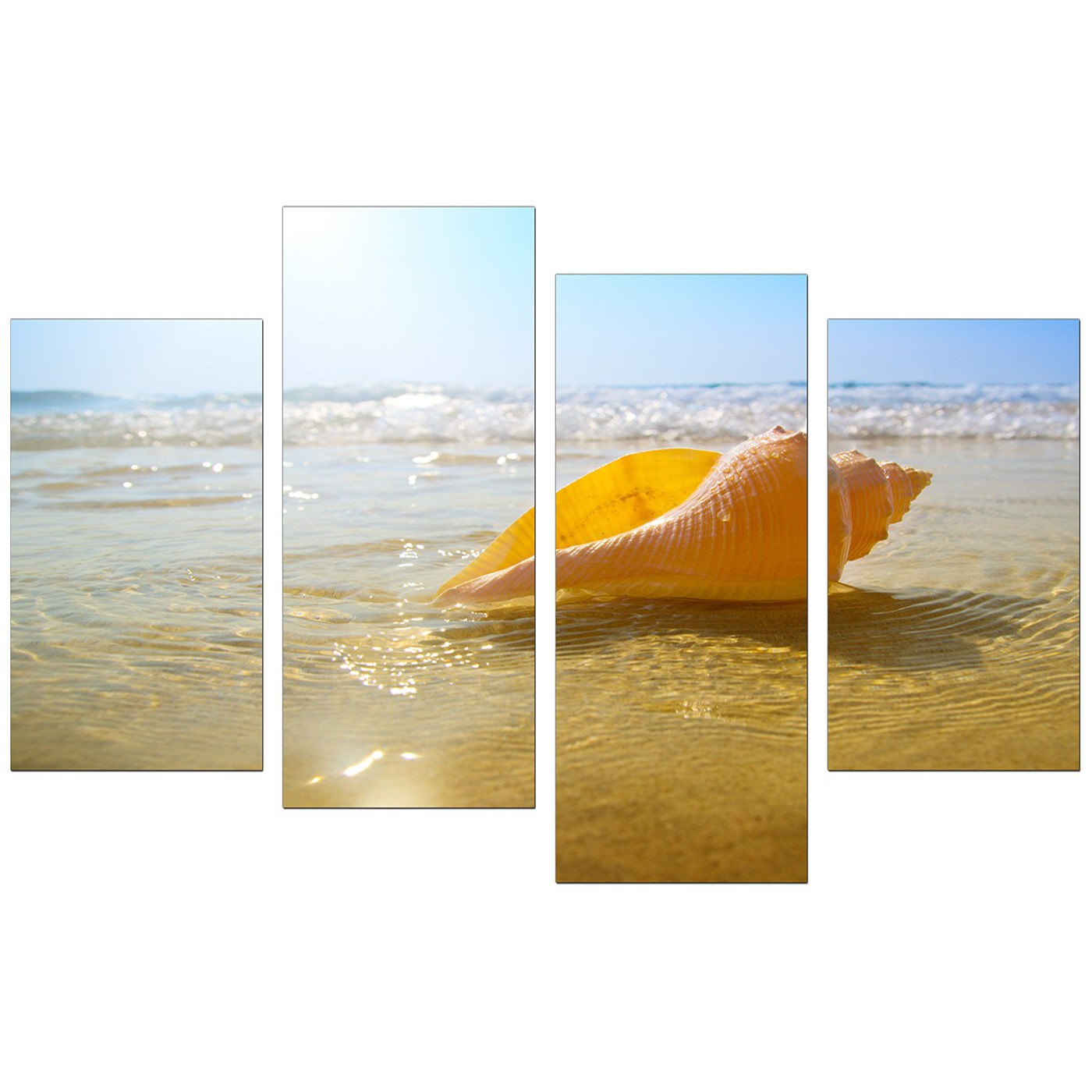 Canvas Wall Art of Beach for your Bathroom - 4 Part