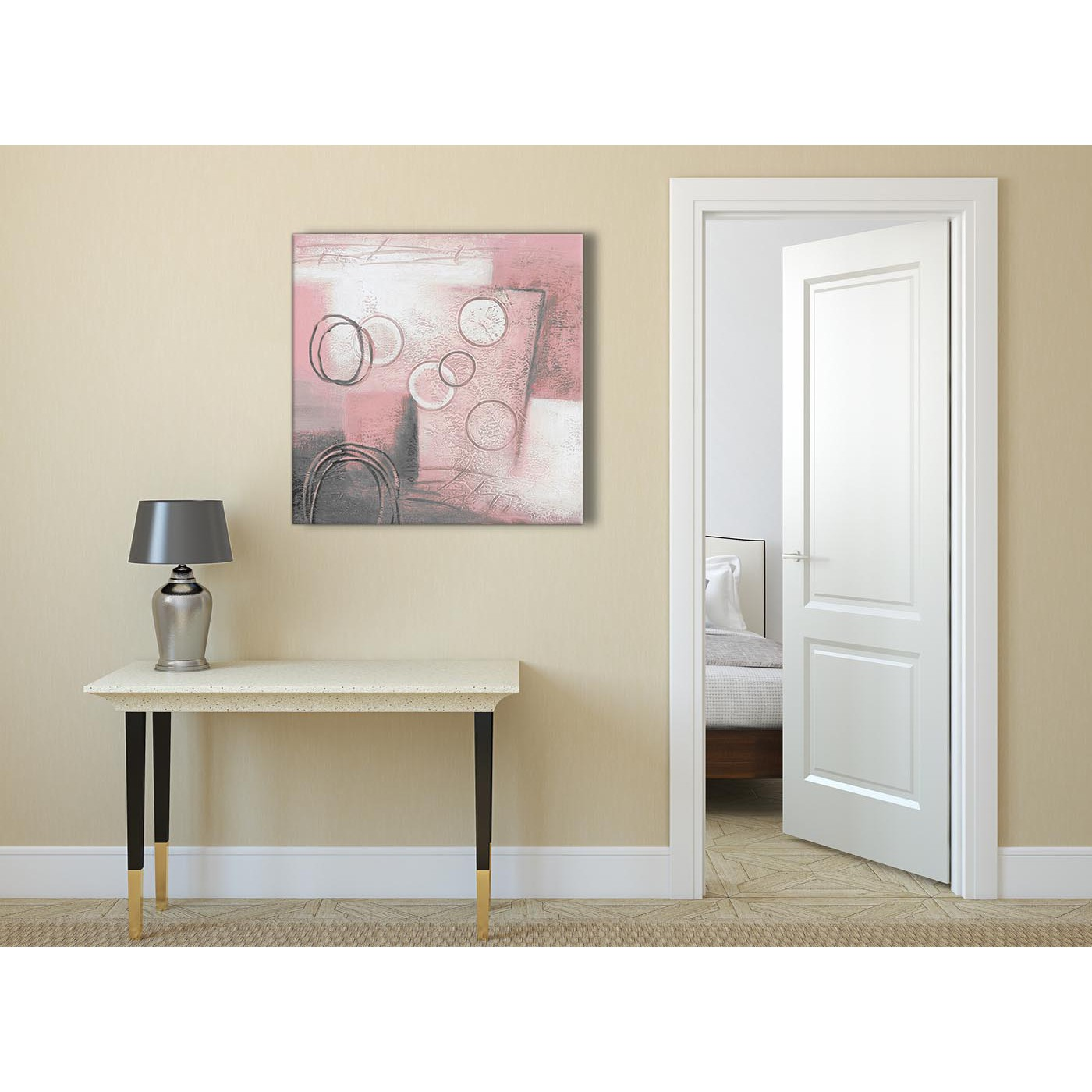 Blush Pink Grey Painting Abstract Office Canvas Wall Art ...