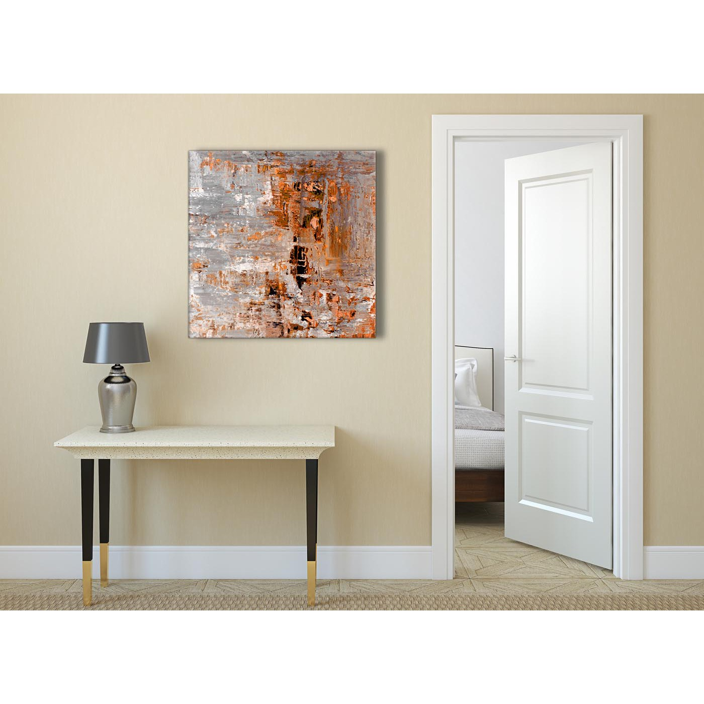 Burnt orange grey painting abstract living room canvas - Burnt orange paint for living room ...