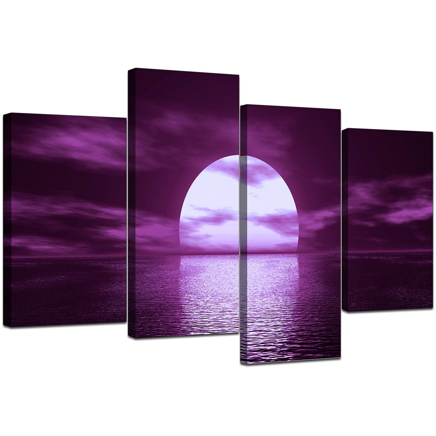 Sunset Seascape Canvases In Purple For Bedroom