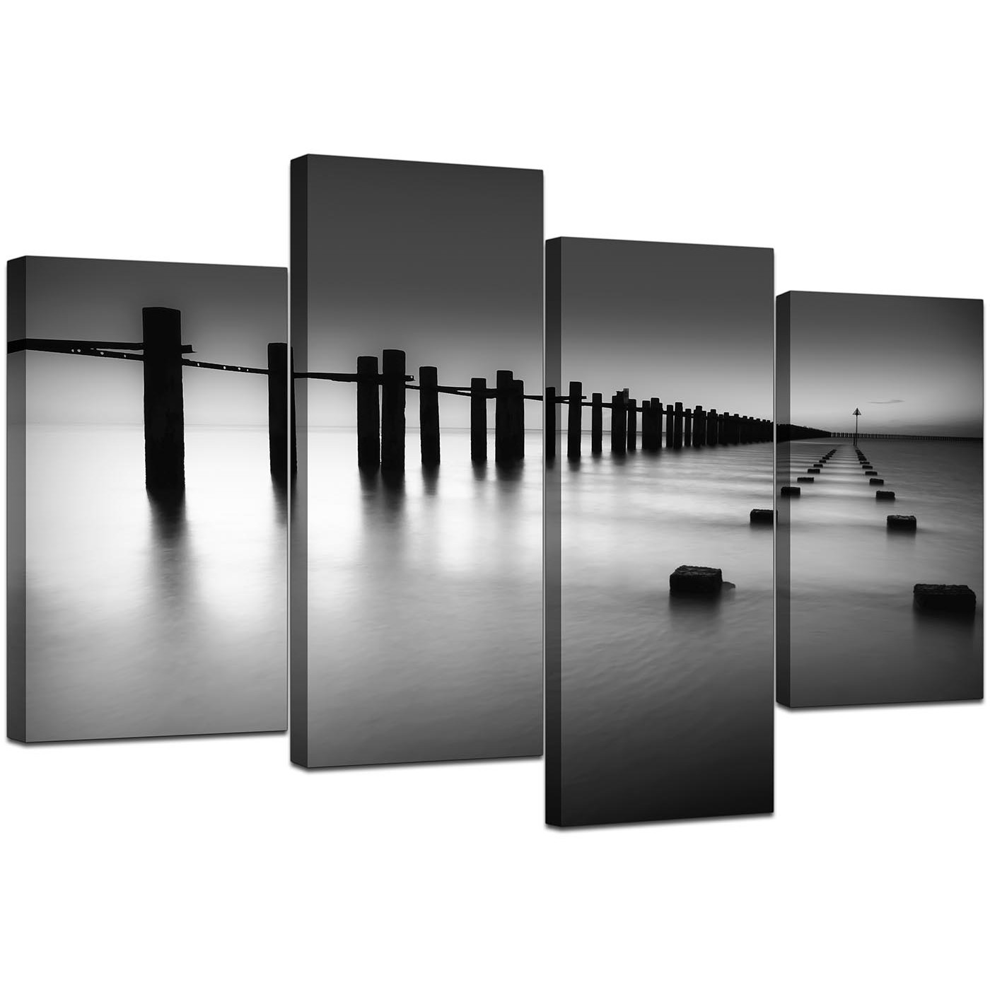 Black white beach scenery landscape canvas split 4 part 130cm 4085