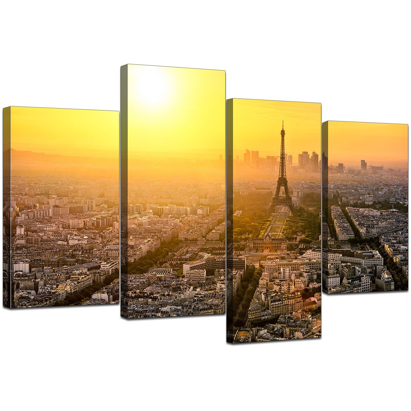 Canvas Art of Eiffel Tower Paris for your Hallway - Set of 4