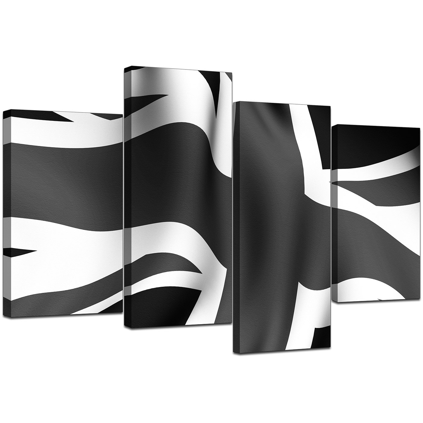 Black White Grey Union Jack Flag Abstract Canvas Multi 4 Panel 130cm 4019