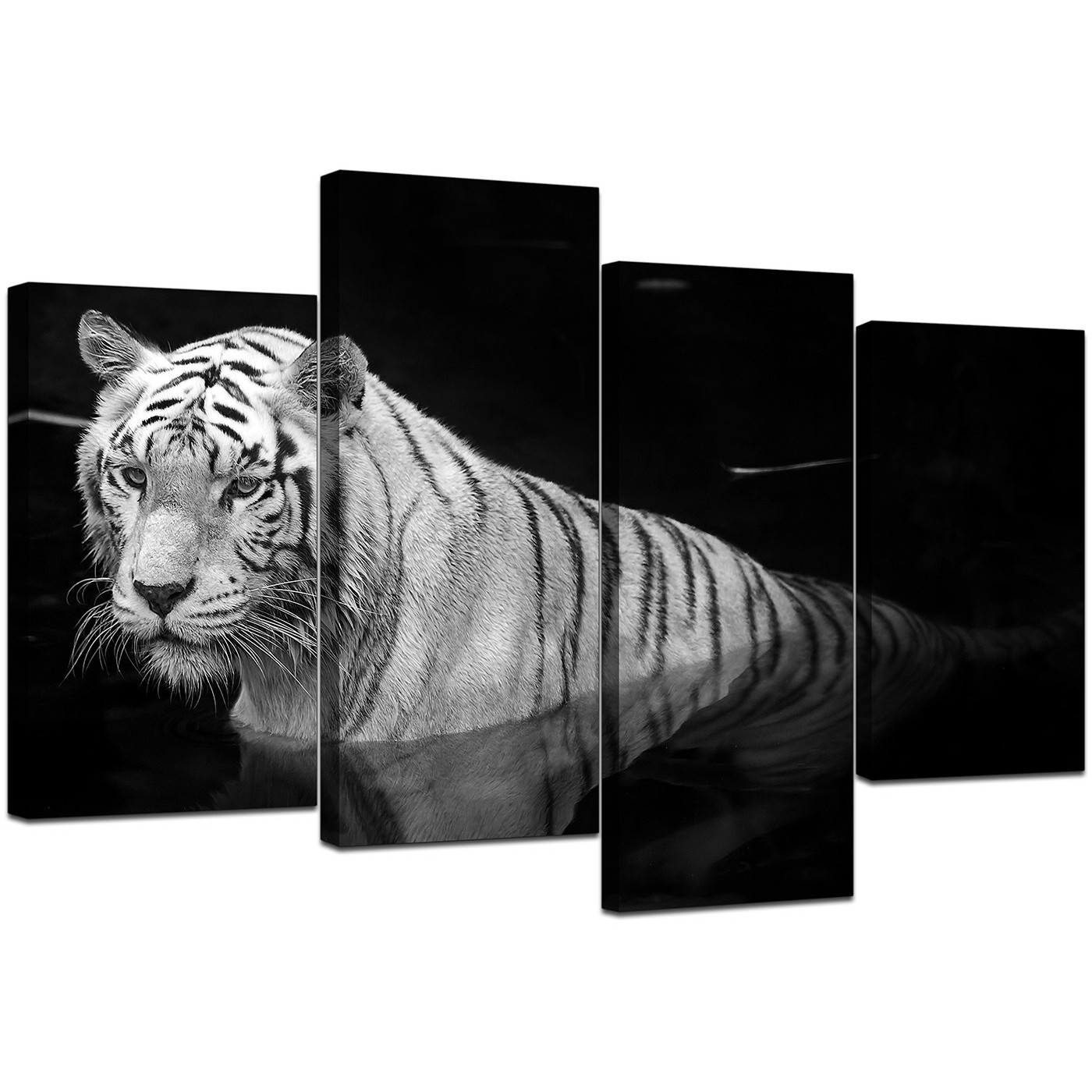 Black and White - Tiger Canvas Wall Art - For Bedroom